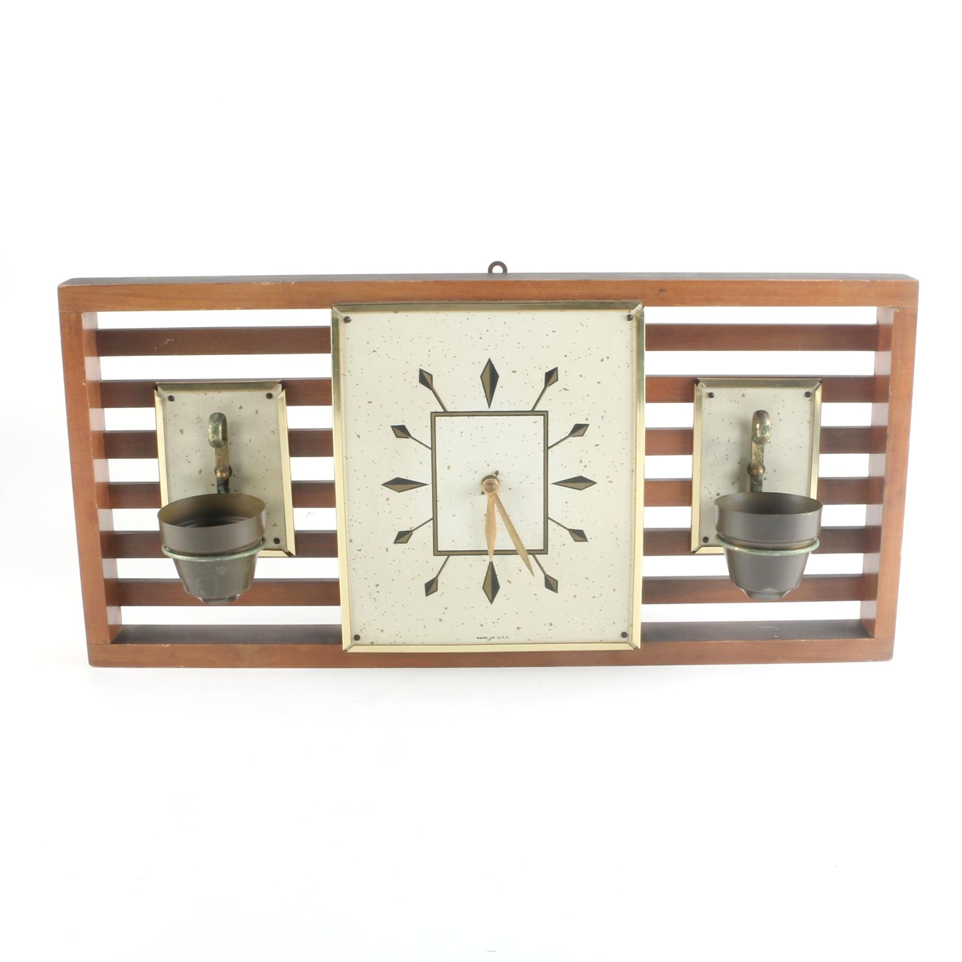 Mid Century Modern Wall Clock with Planters