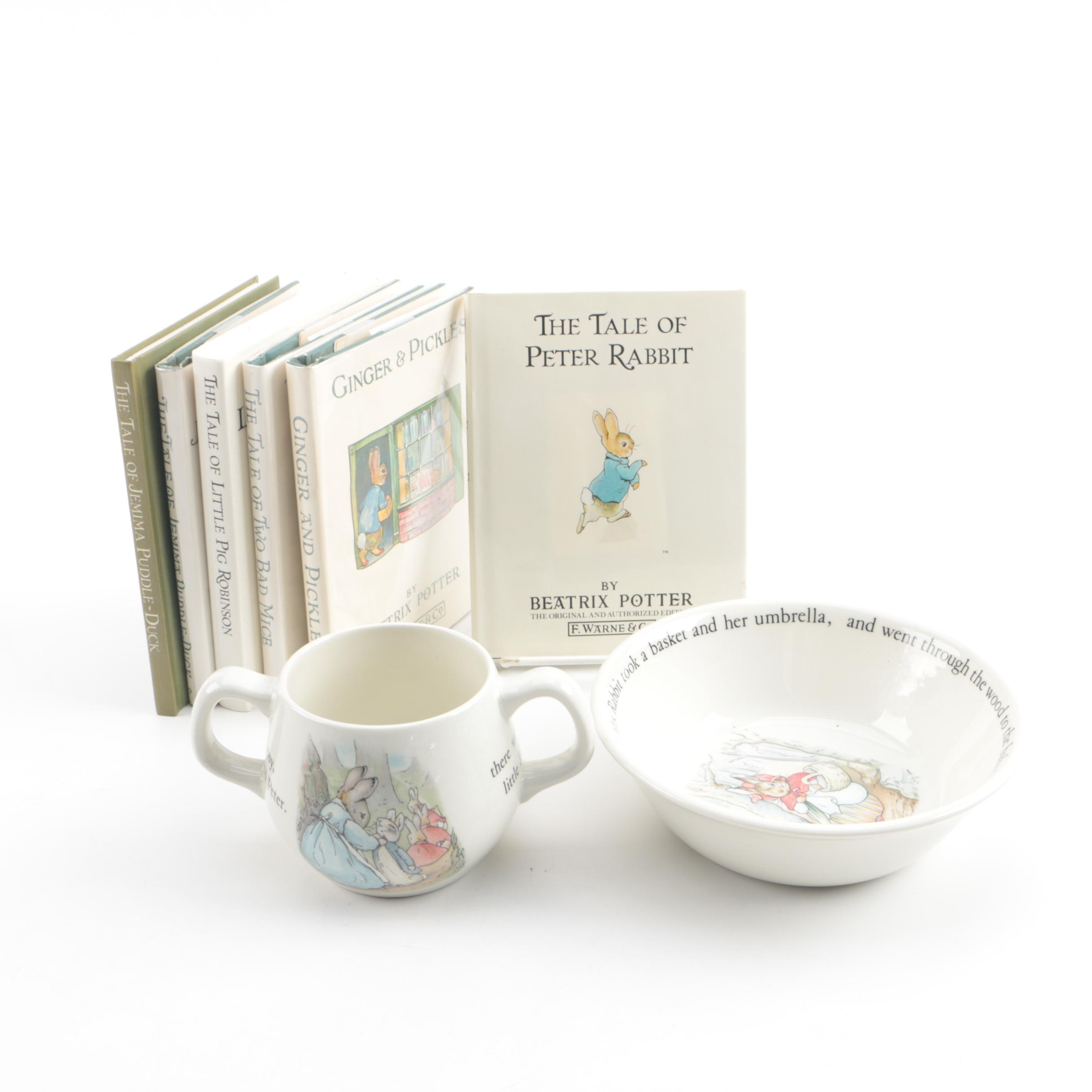 Beatrix Potter Books and Wedgwood Child's Bowl and Cup