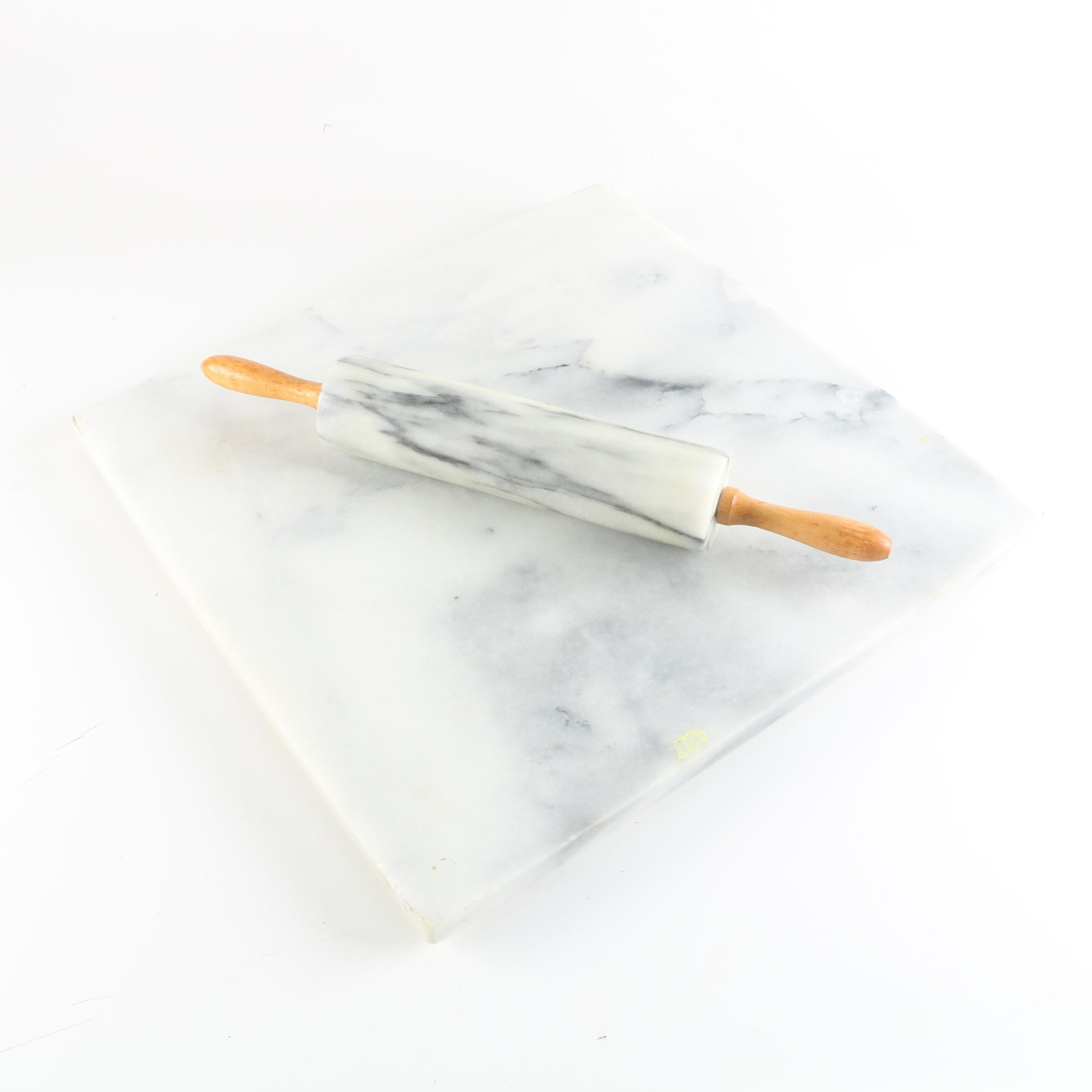 Marble Rolling Pin and Cutting Board