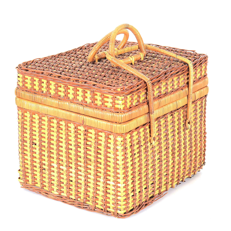 Woven Cane Picnic Basket