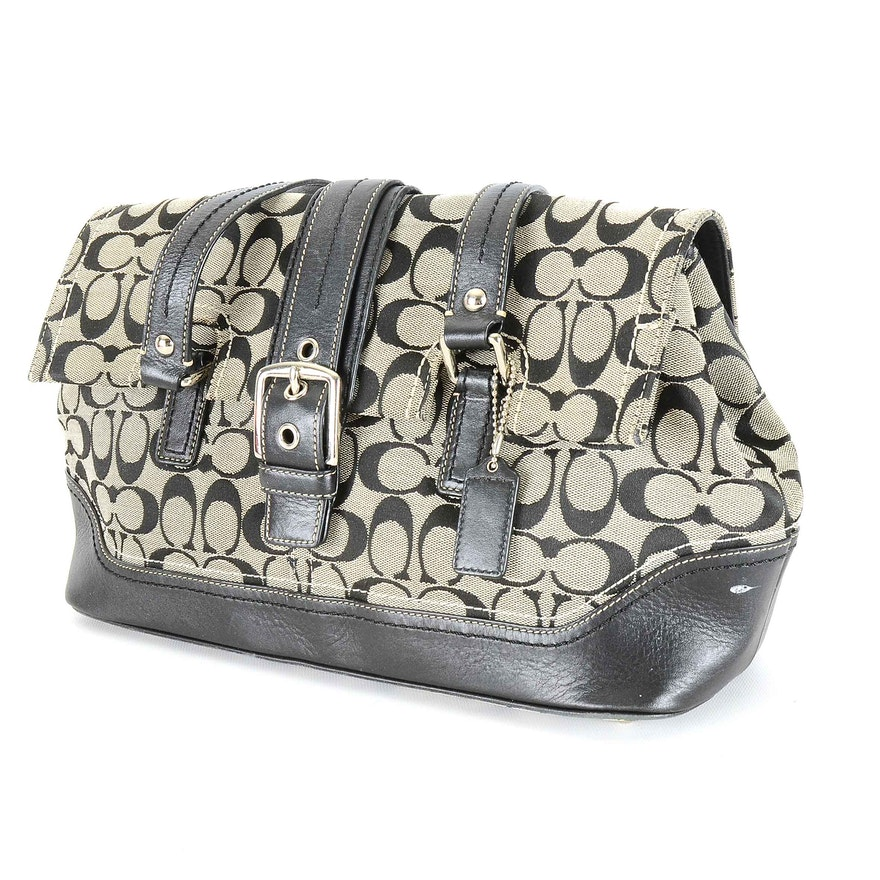 36035277e10 Coach Signature Jacquard Canvas and Black Leather Satchel Handbag   EBTH
