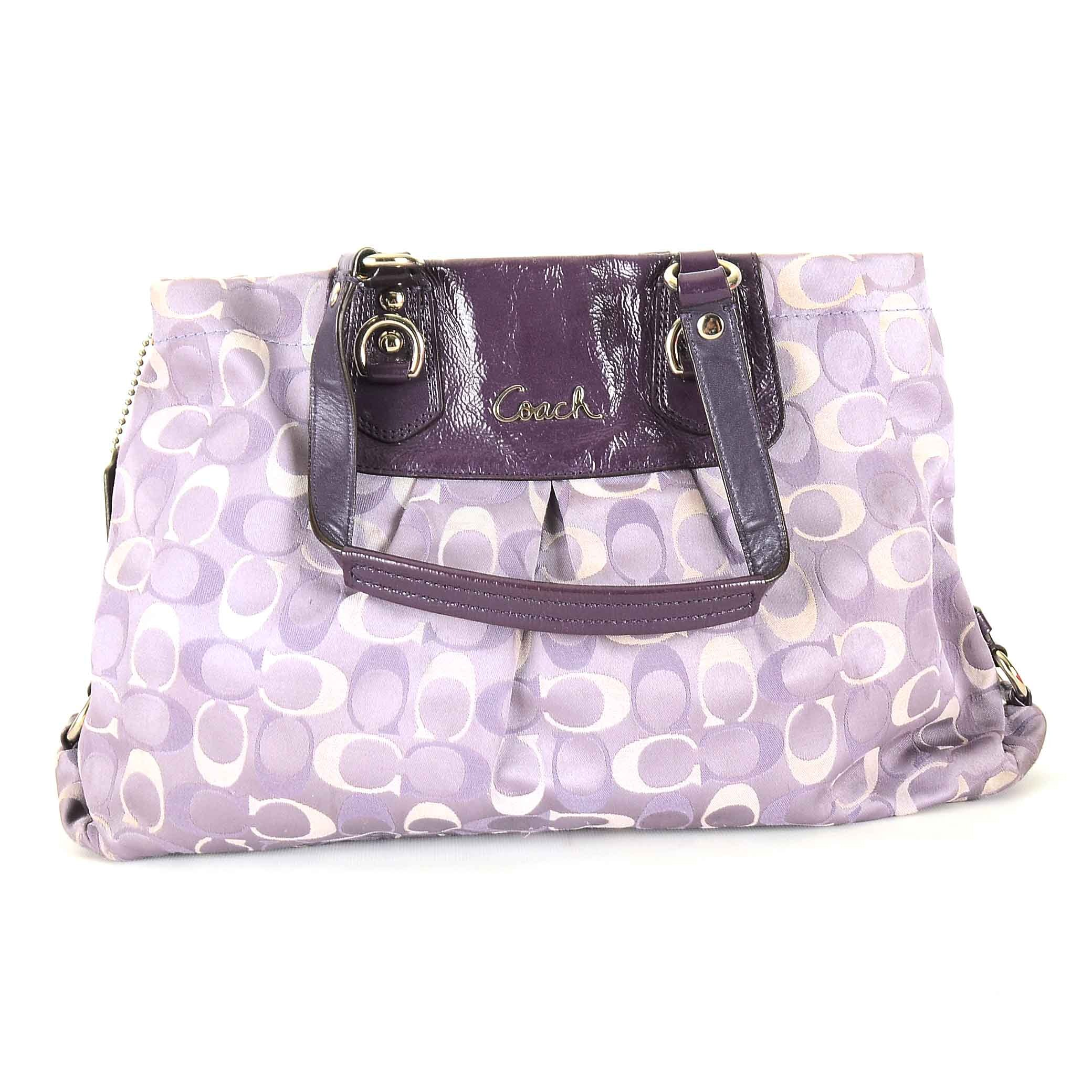 Coach Ashley Jacquard Canvas and Leather Handbag