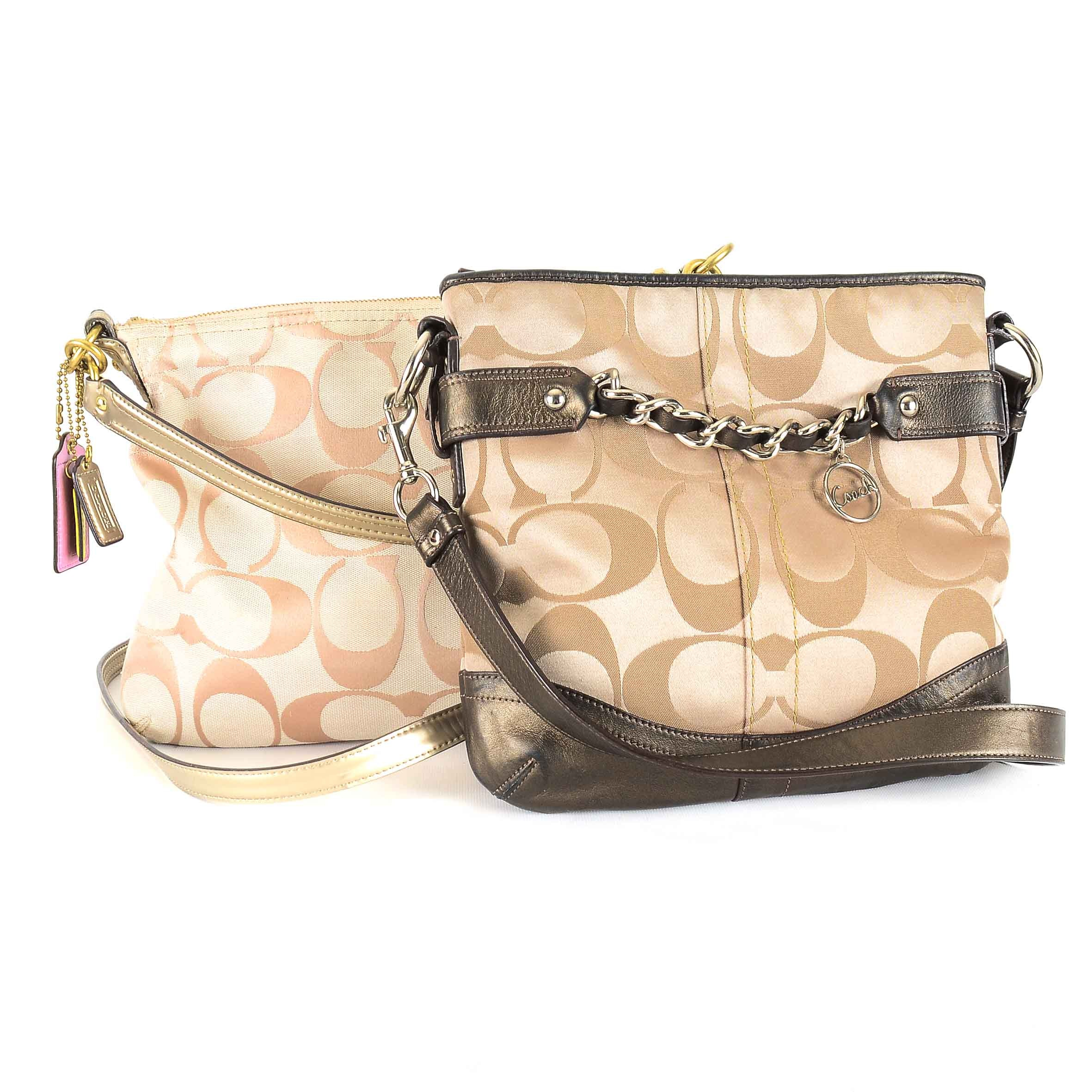 Coach Signature Sateen and Leather Handbags