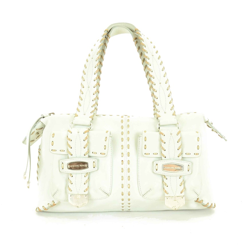 b0ed29b35cf0 Michael Kors Palm Beach White Leather Satchel Handbag : EBTH