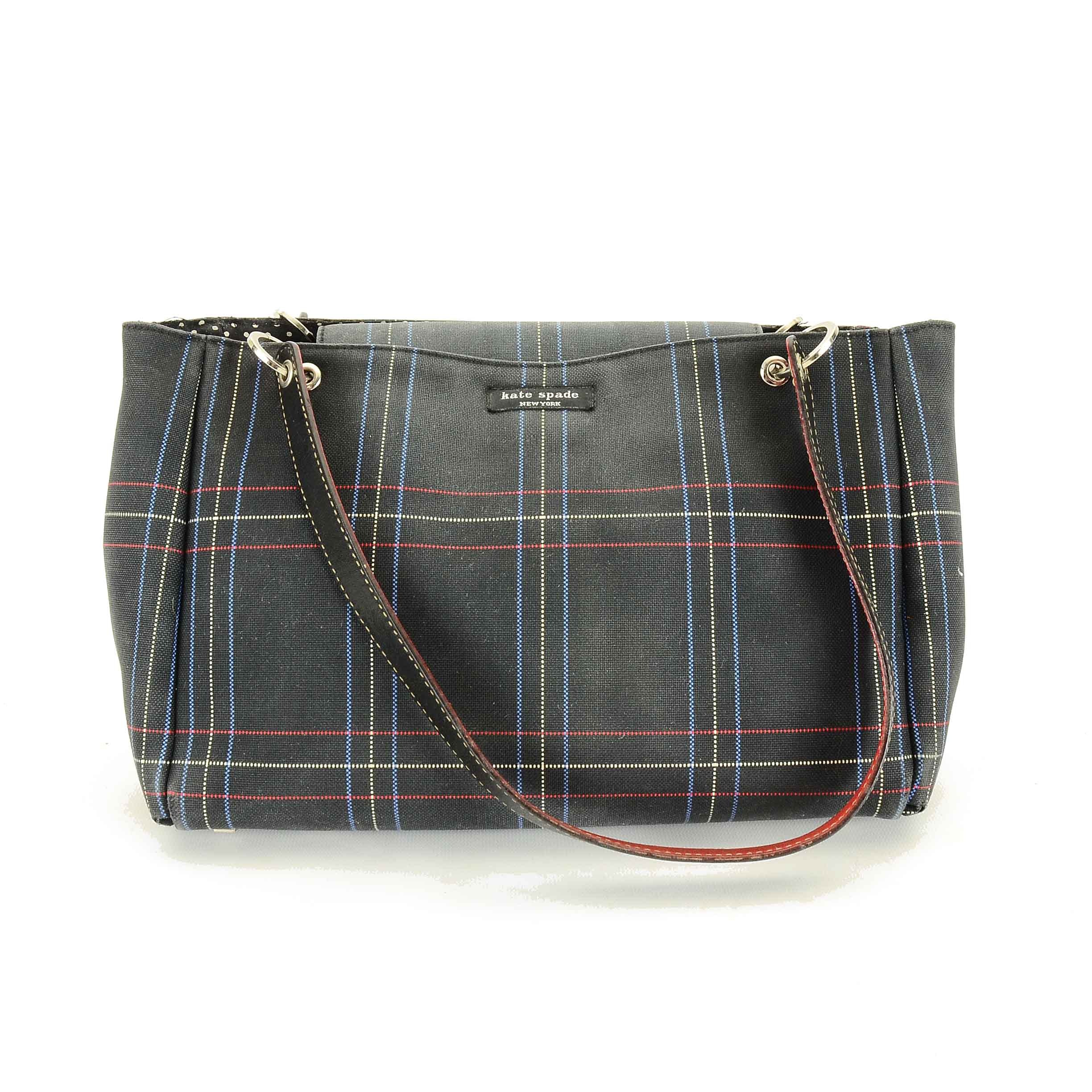 Circa 1990s Kate Spade New York Plaid Canvas and Leather Handbag