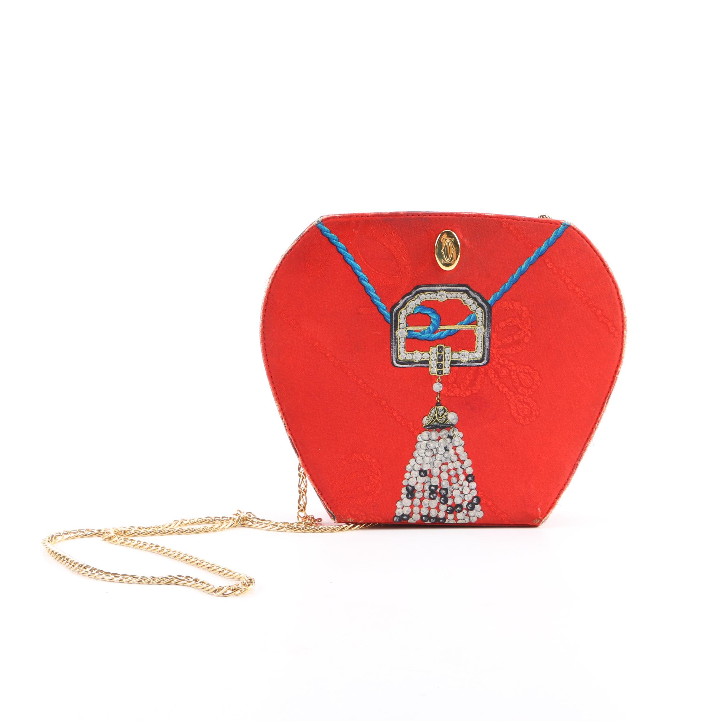 1980-1989 Cartier Les Must Red Silk Jewel Necklace and Gold Chain Design Clutch