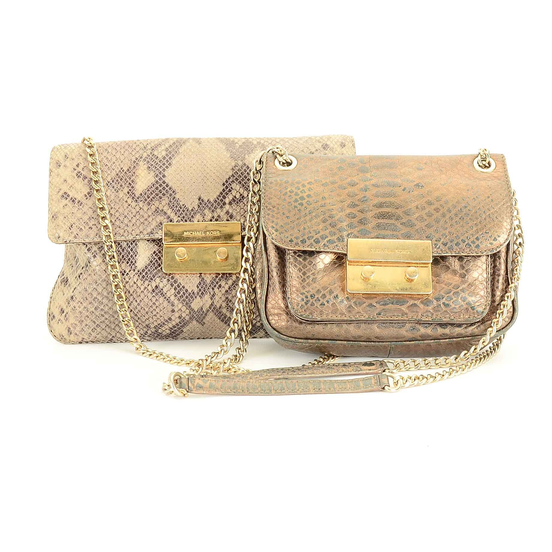 Michael Kors Snakeskin Embossed Leather Handbags