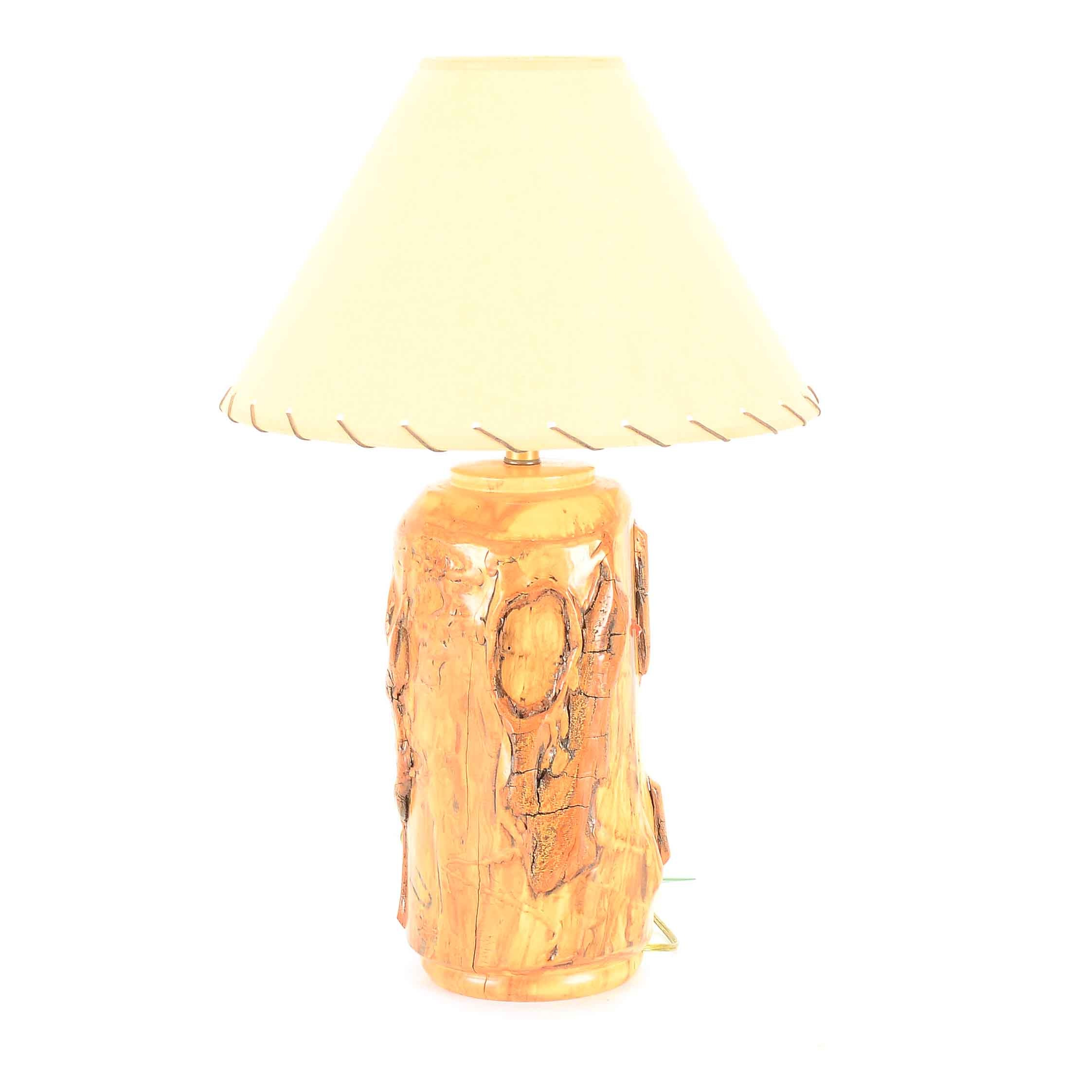 Polished Burl Wood Table Accent Lamp