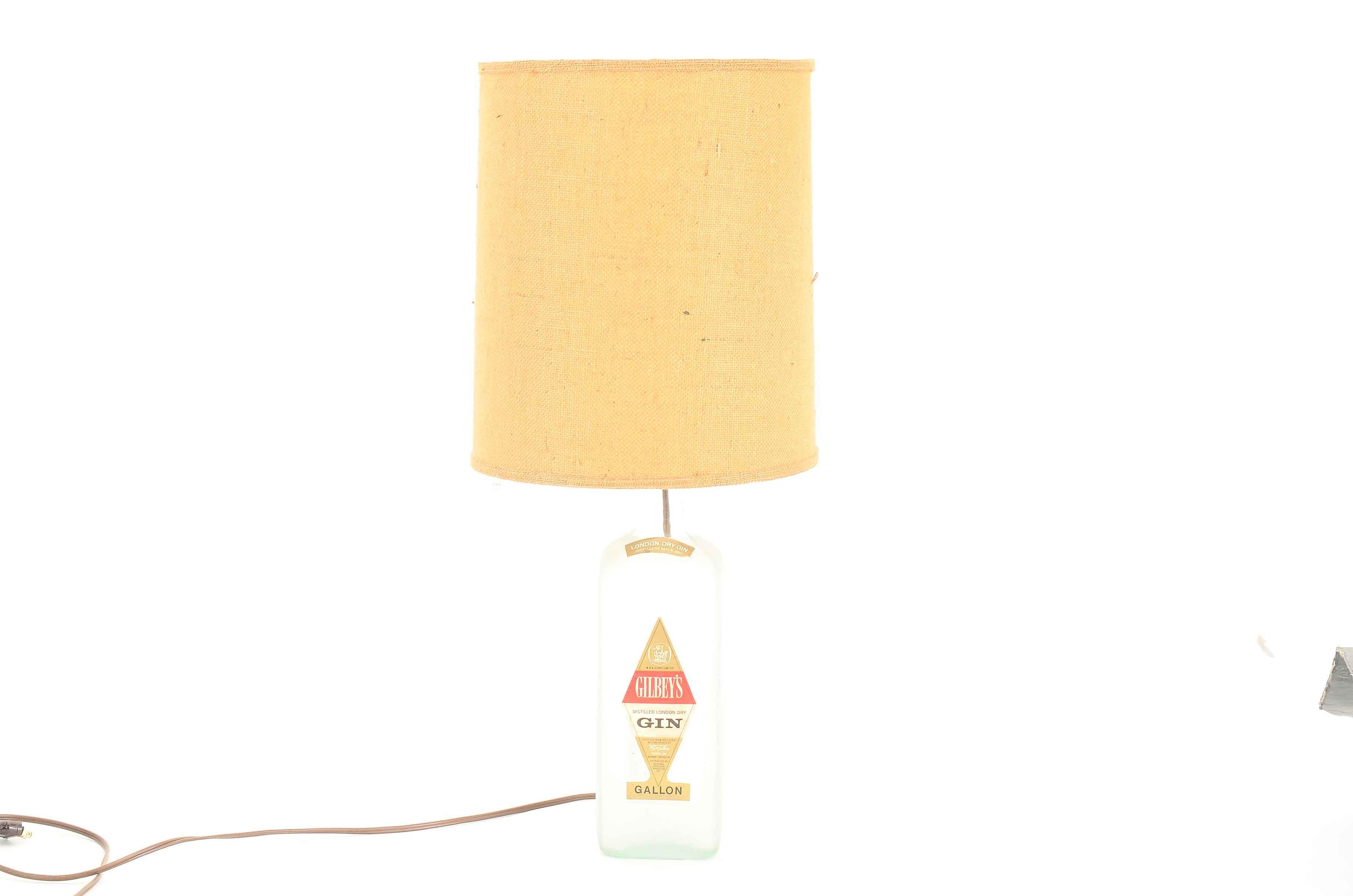 Vintage Gilbeys Gin Bottle Table Lamp