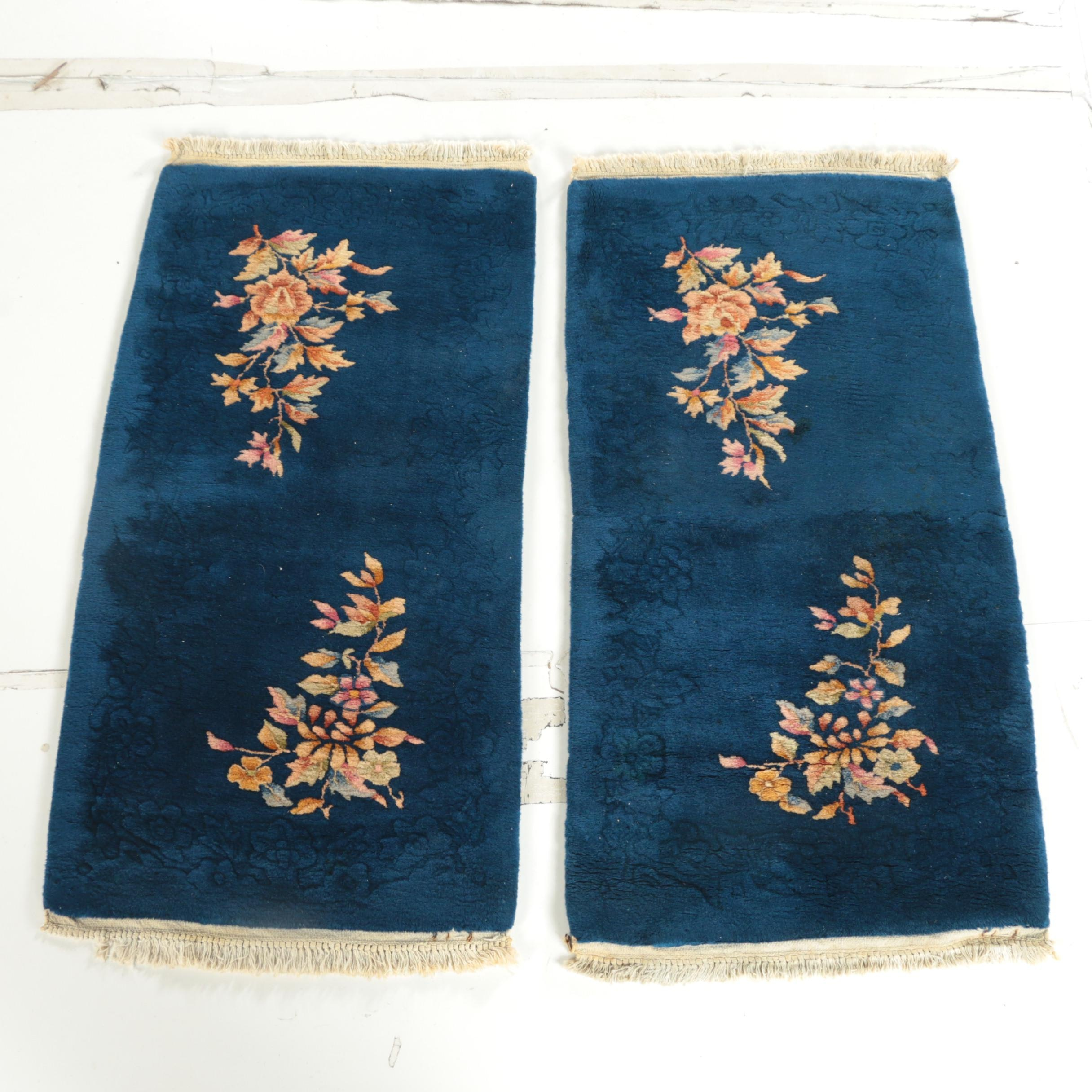 Vintage Hand-Knotted Chinese Art Deco Style Carved Wool Accent Rugs