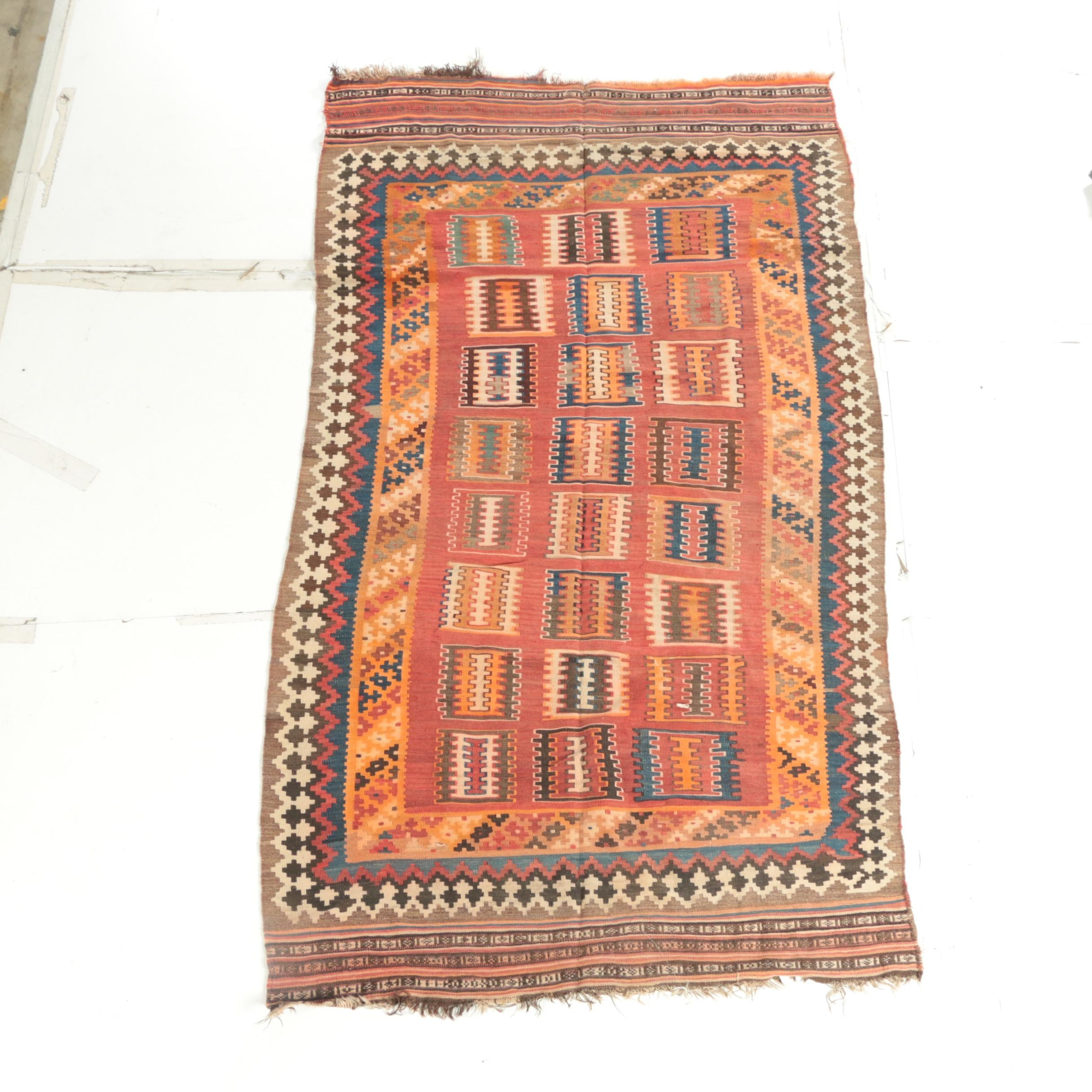 Semi-Antique Handwoven and Embroidered Anatolian Tribal Area Kilim