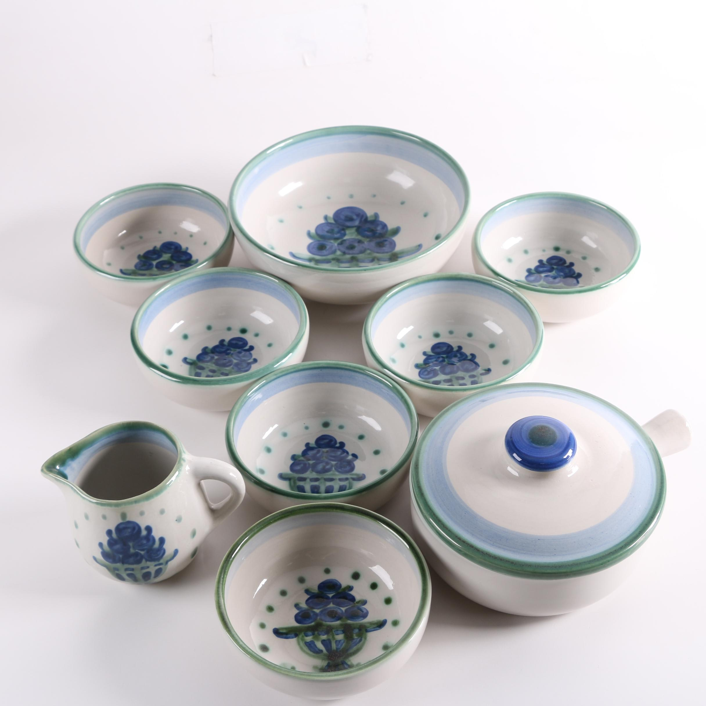 "M.A. Hadley Pottery ""Bouquet"" Stoneware Bowls, Porringer and Pitcher"