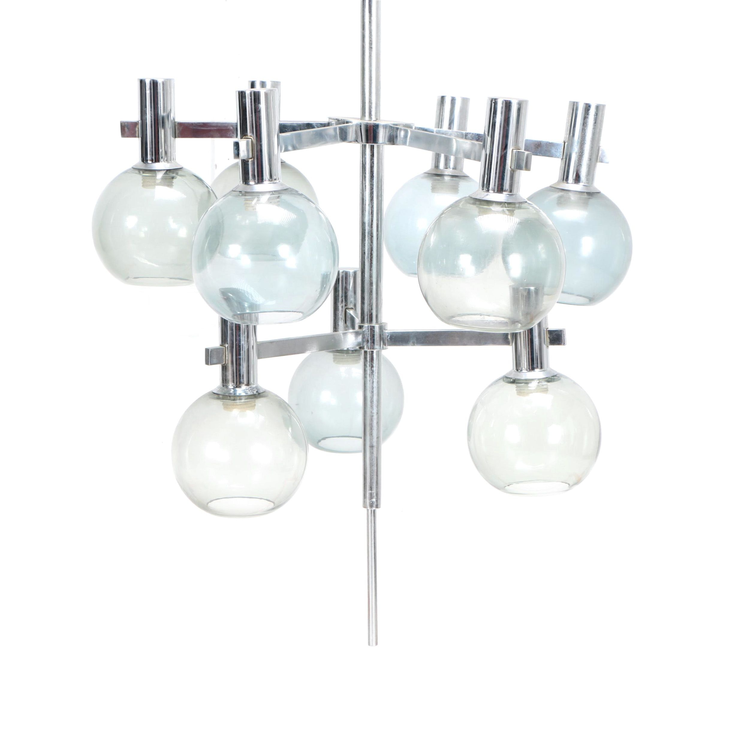 Mid Century Modern Bubble Glass Two-Tiered Silver Tone Metal Chandelier