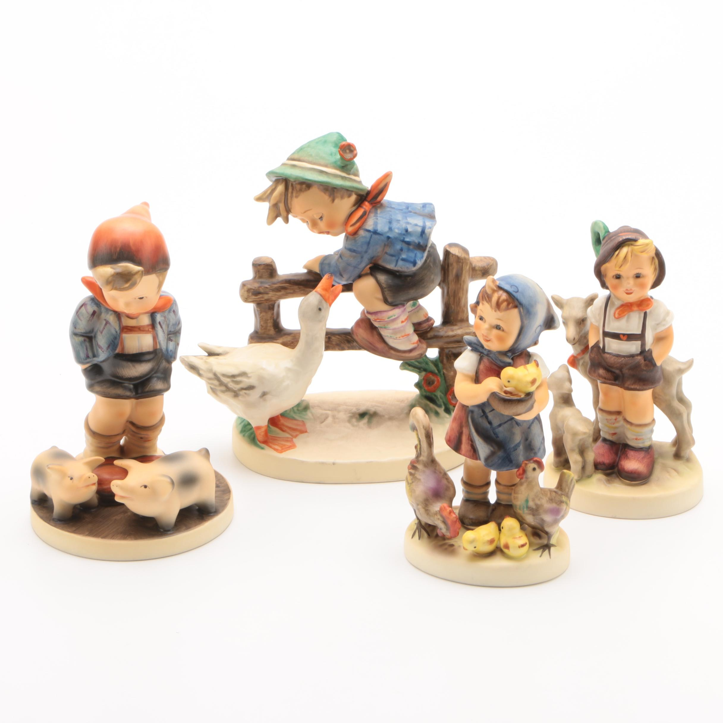 "Hummel Figurines Including ""Barnyard Hero"", ""Farm Boy"", ""Feeding Time"""