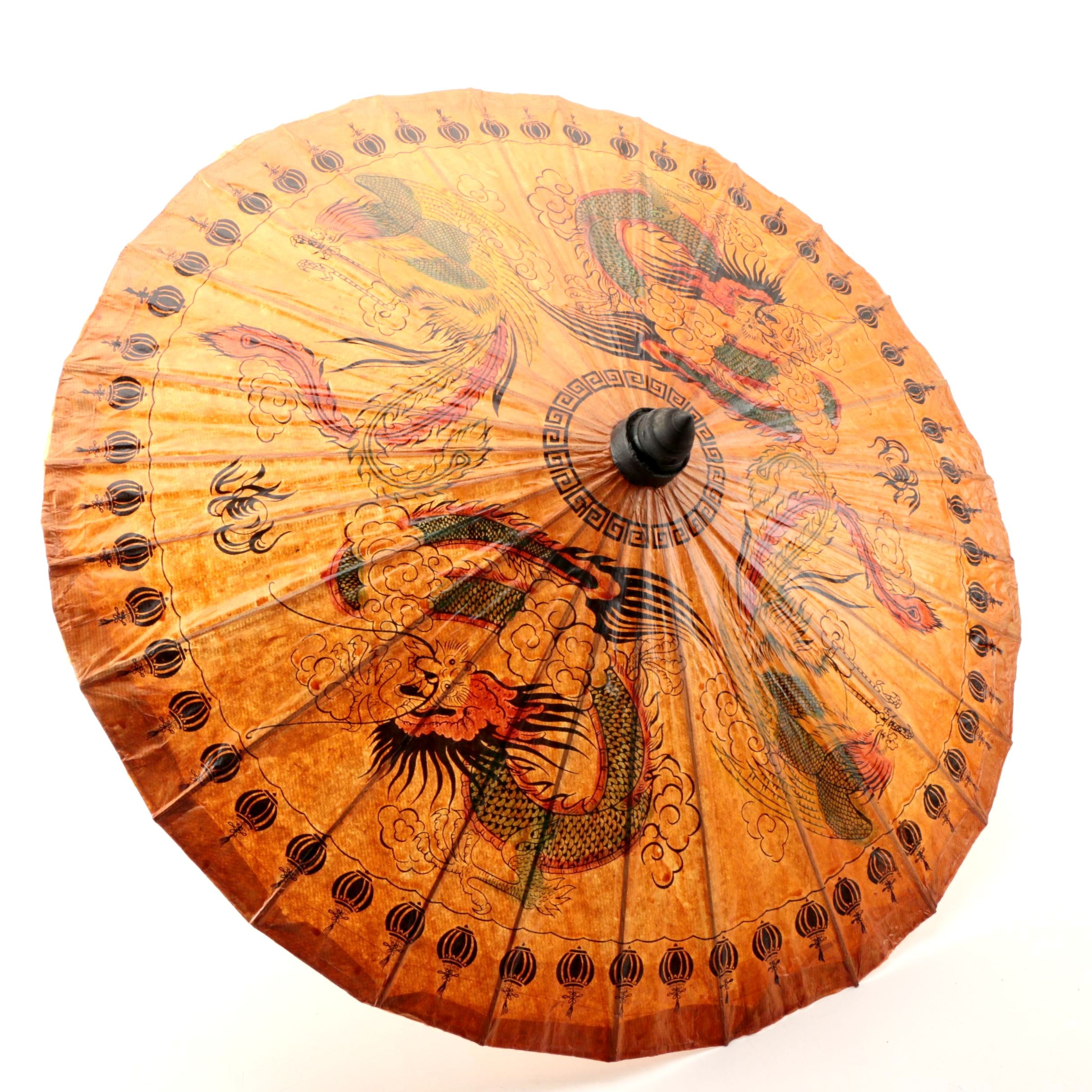 Vintage Asian Hand-Decorated Paper Parasol with Wood Depicting Dragon