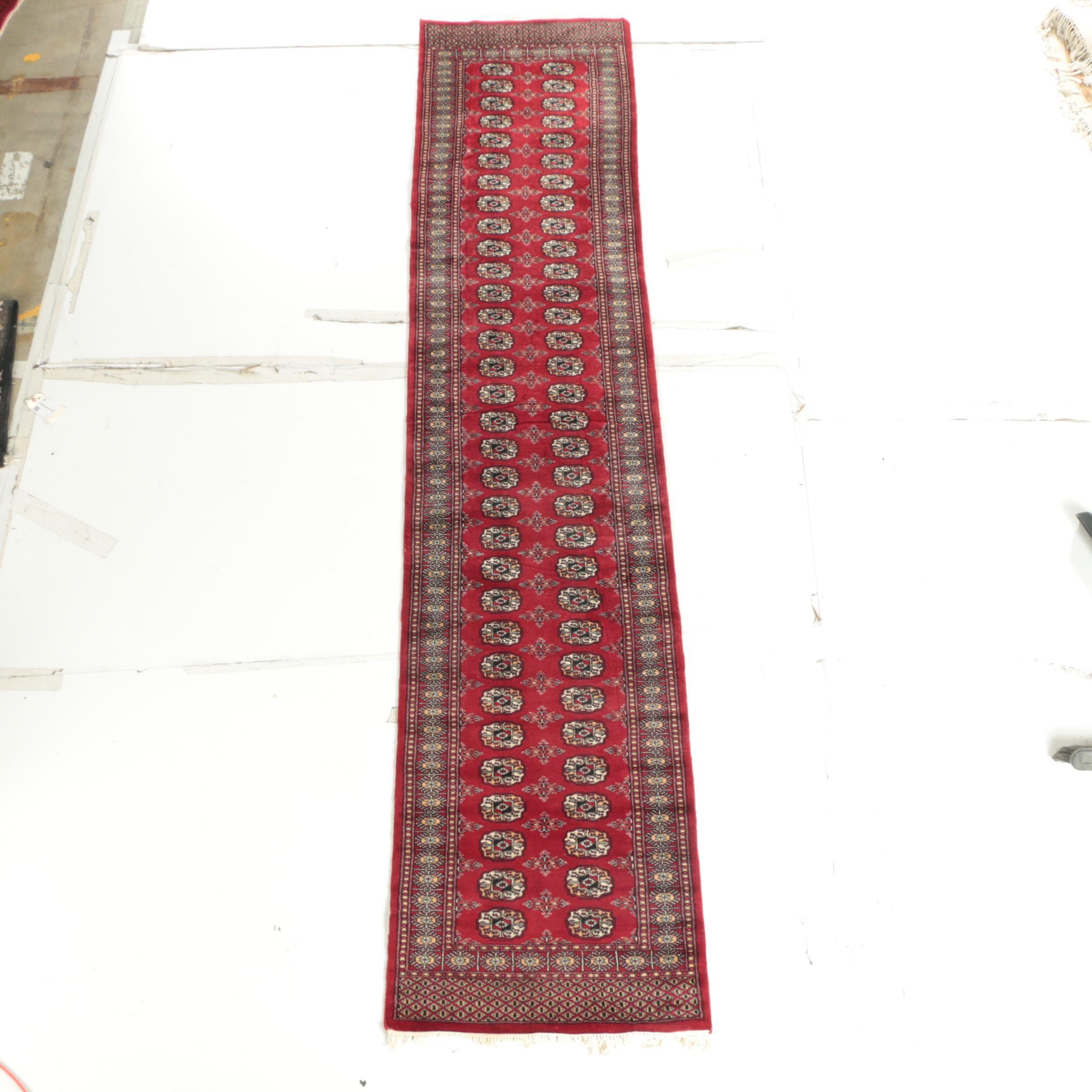Hand-Knotted Pakistani Bokhara Wool Carpet Runner