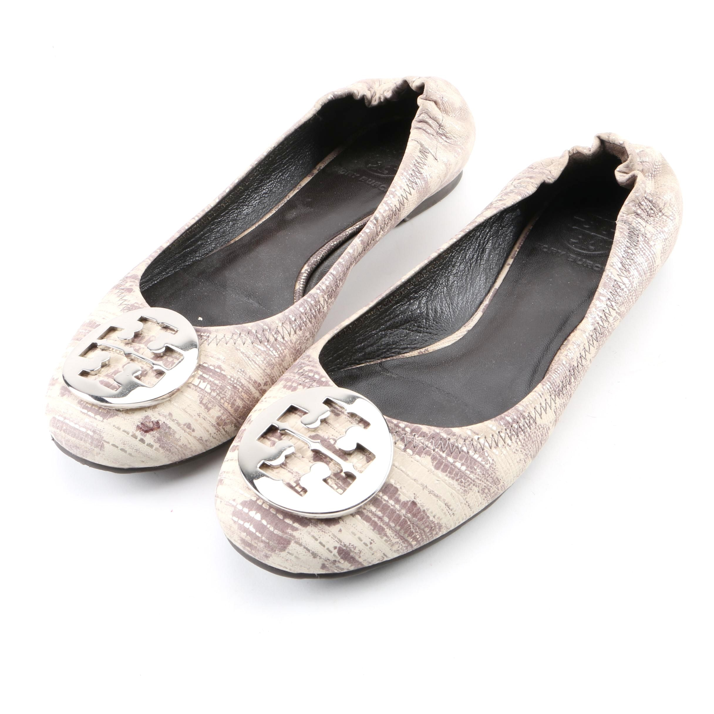 Tory Burch Cream and Taupe Embossed Leather Ballet Flats