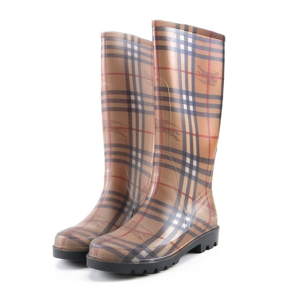 Women's Burberry Haymarket Mid Rain Boots
