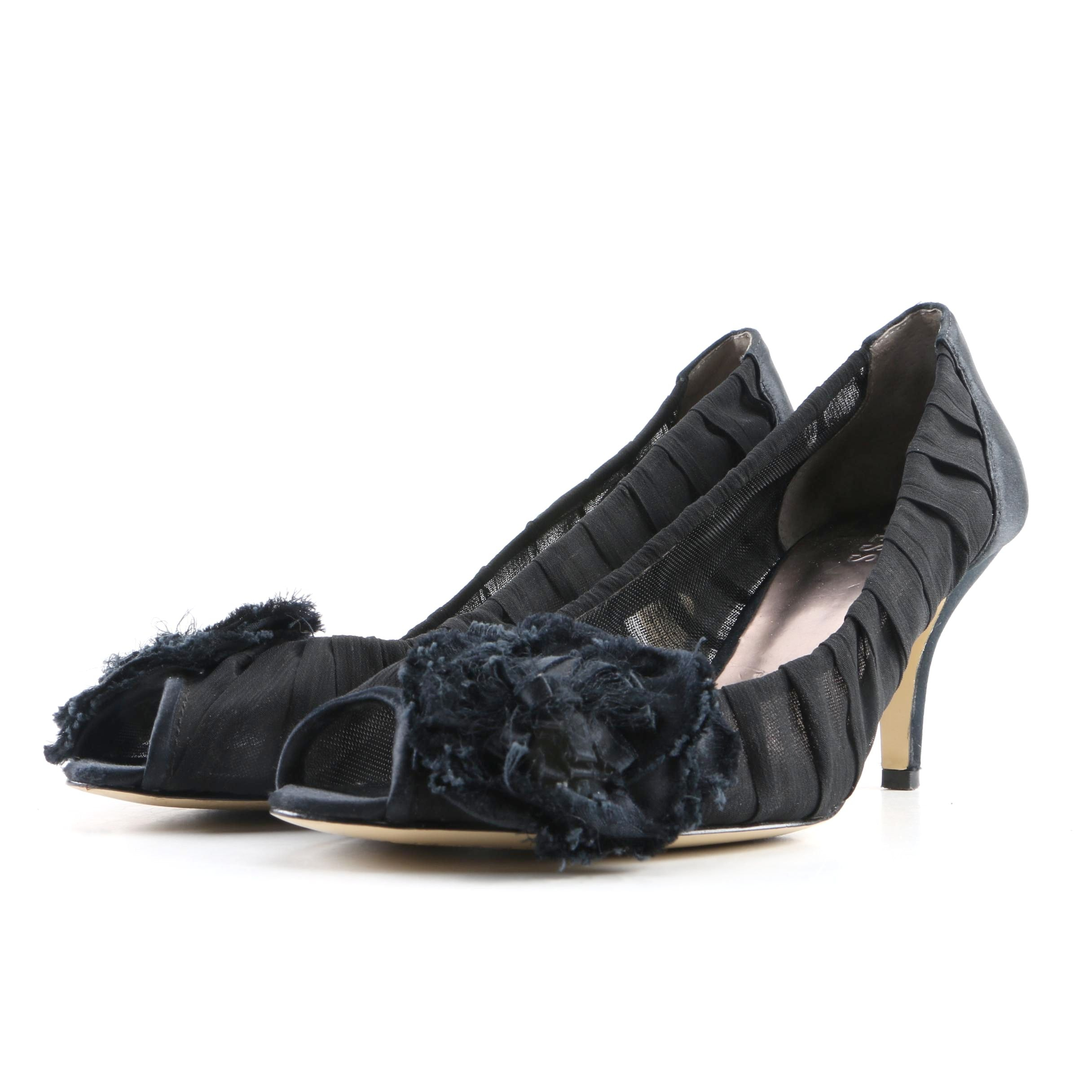 Guess Black Pleated Mesh Peep Toed Pumps with Flower Embellishments