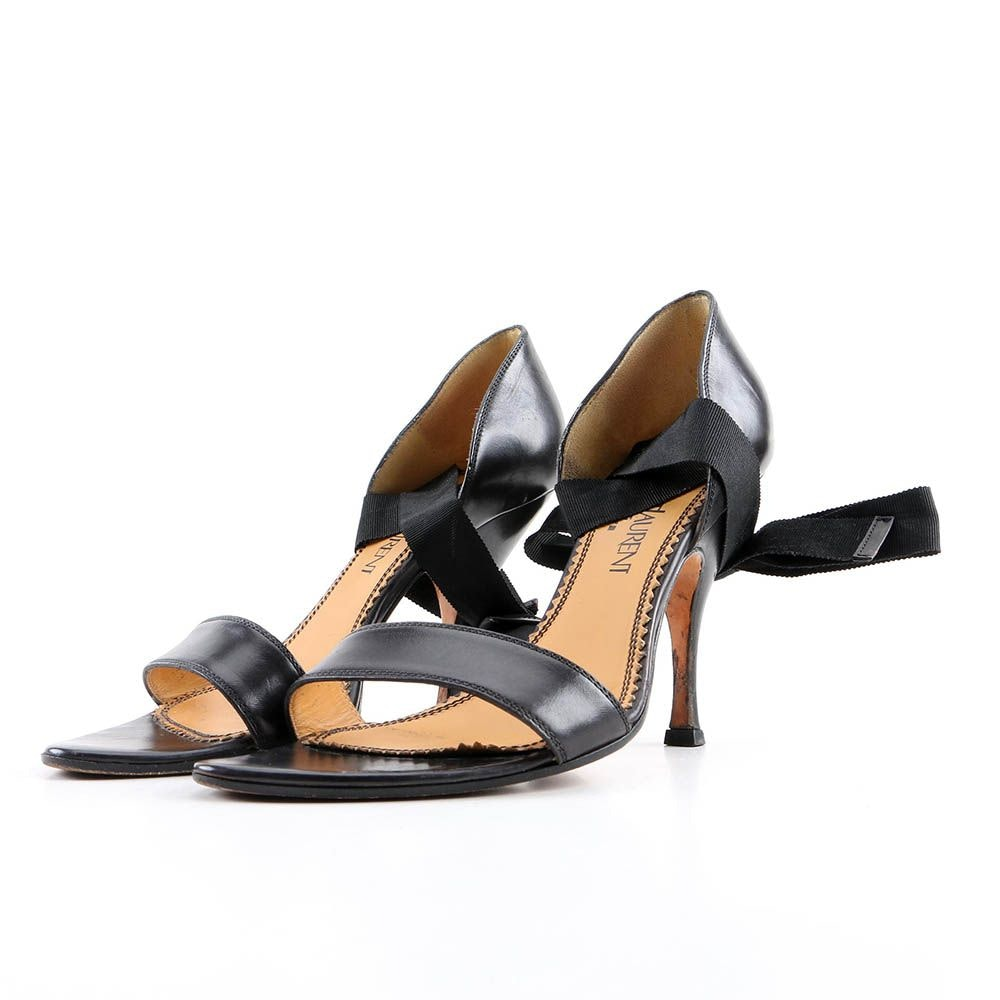 Yves Saint Laurent Black Leather High-Heeled Sandals