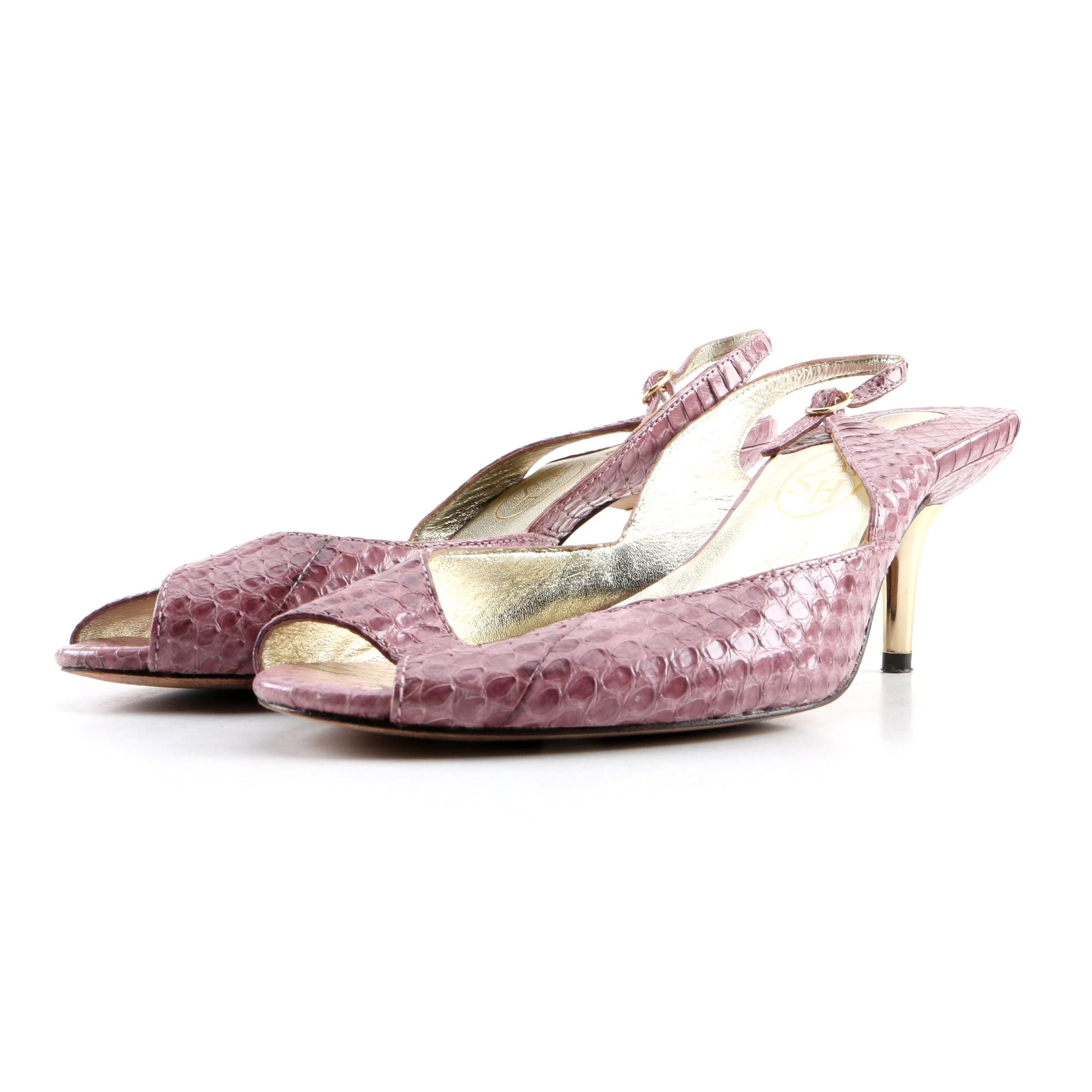 Ash Brand Mauve Dyed Snakeskin Slingback Sandals