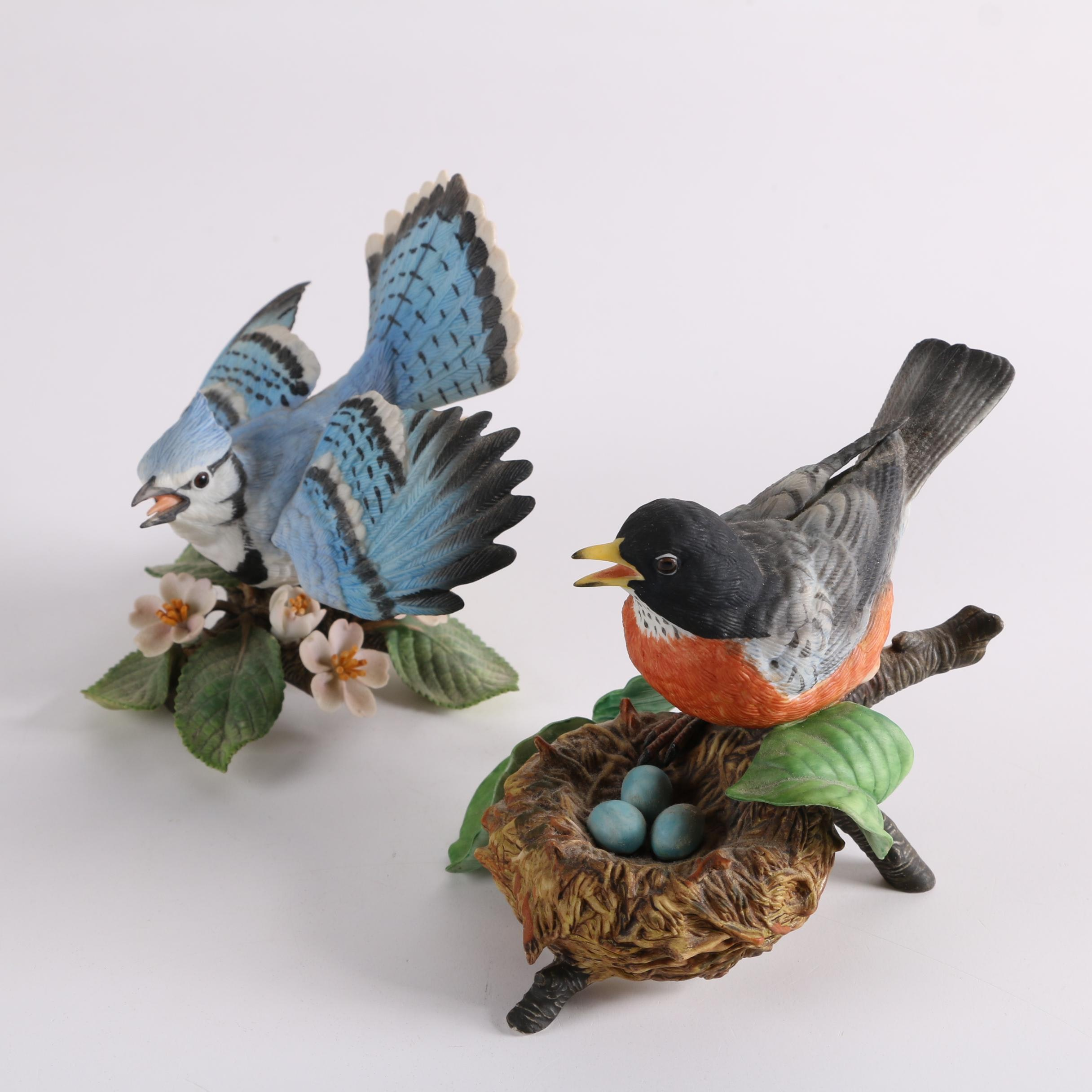 Lenox Porcelain Blue Jay and Robin Figurines