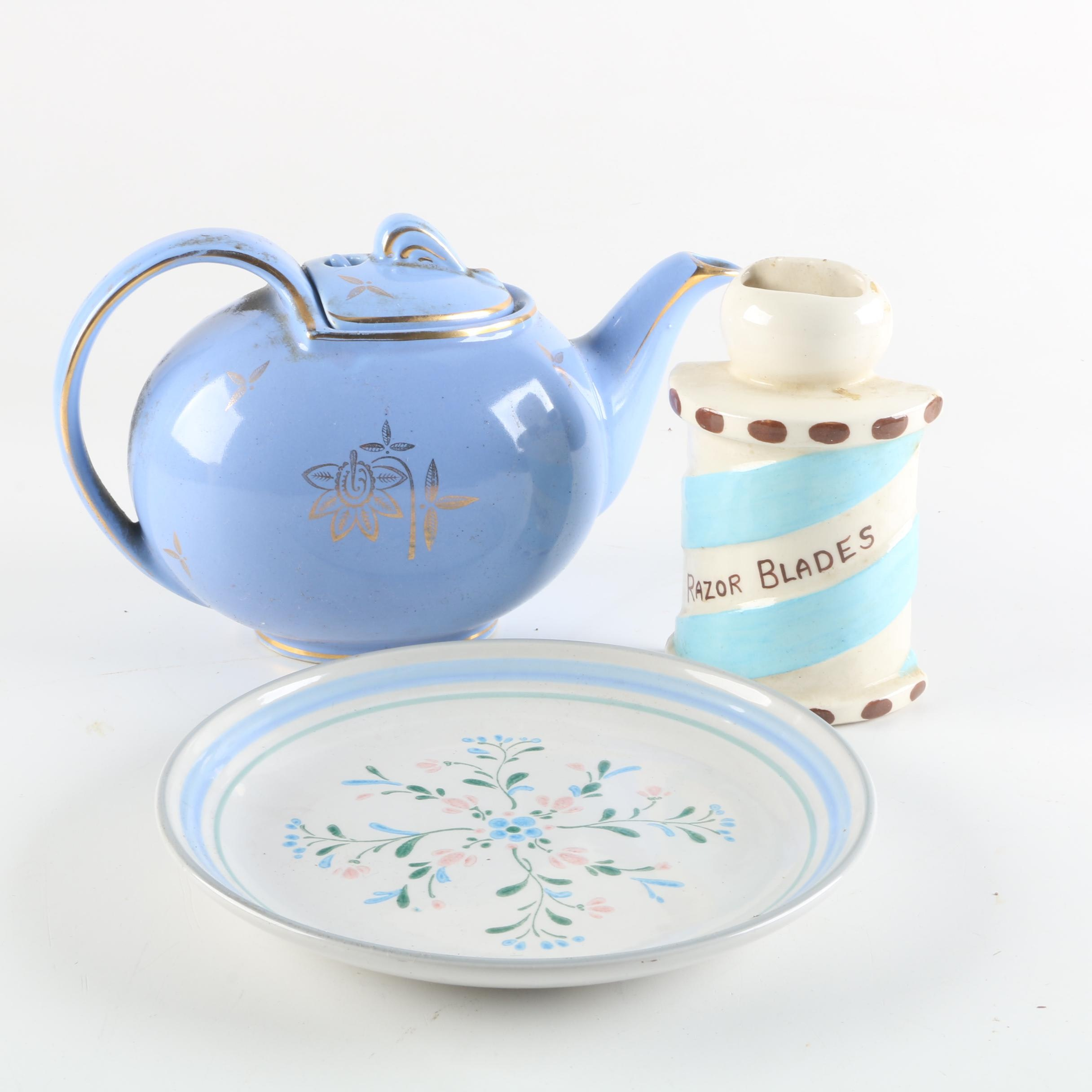 Vintage Hall Ceramic Teapot with Decorative Plate and Wall Decor
