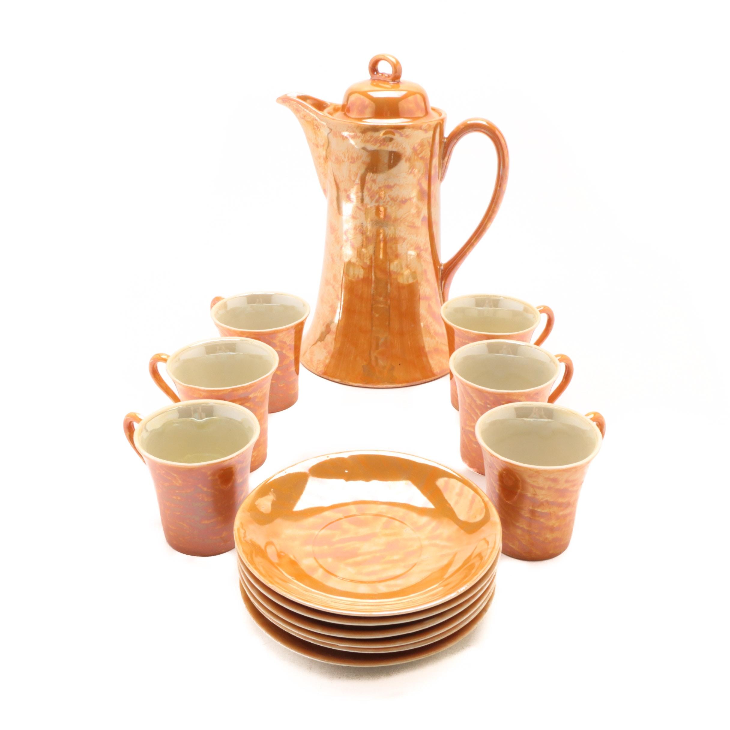 Set of Tashiro Shoten Orange Lustre Ceramic Drinkware