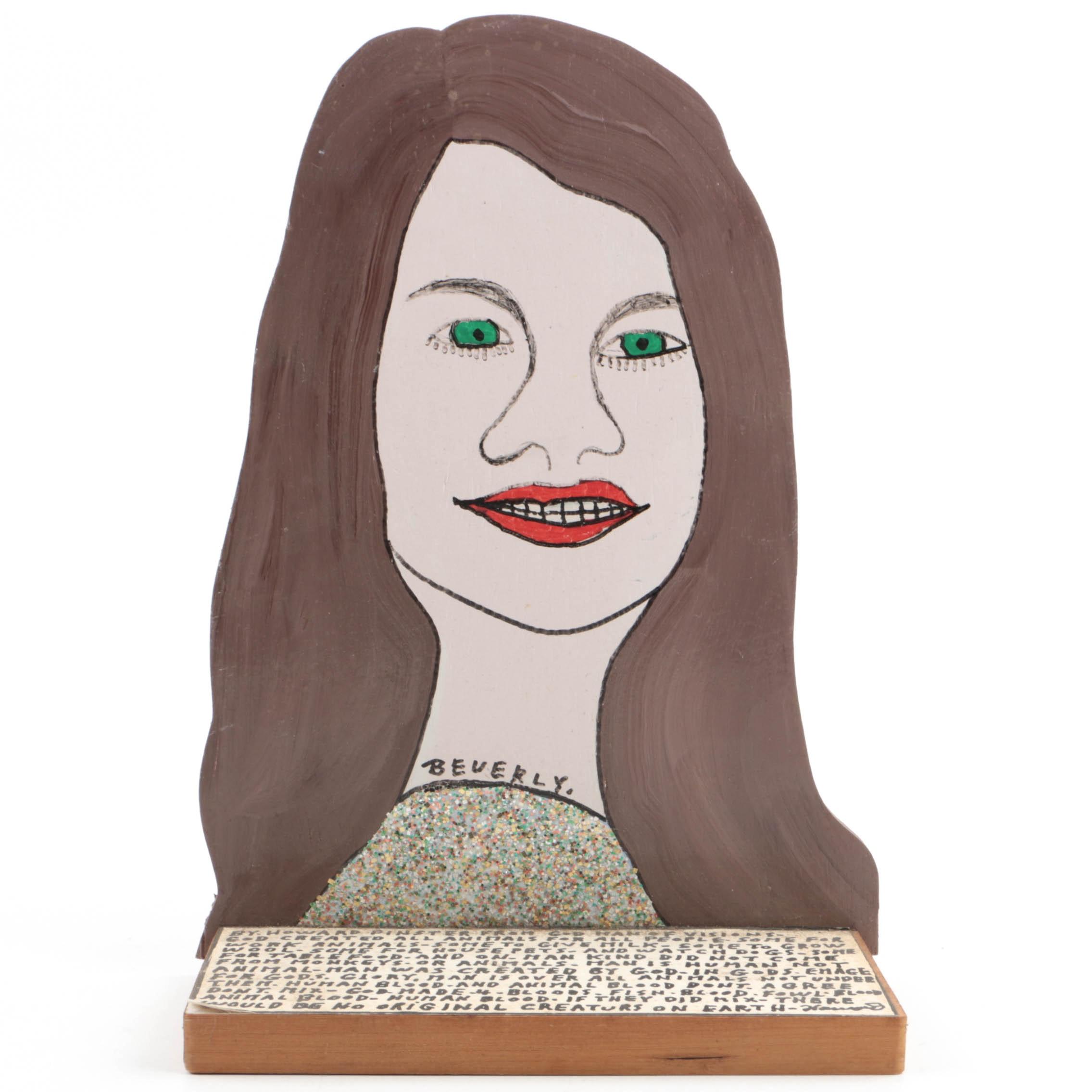 "Howard Finster Mixed Media on Shaped Wood Shelf Piece ""Beverly"""