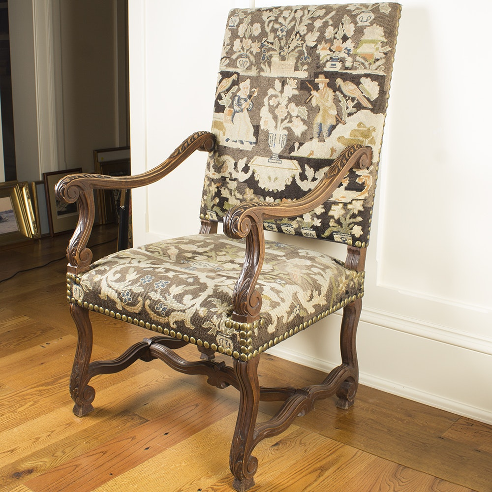 Vintage Louis XIV Style Upholstered Armchair