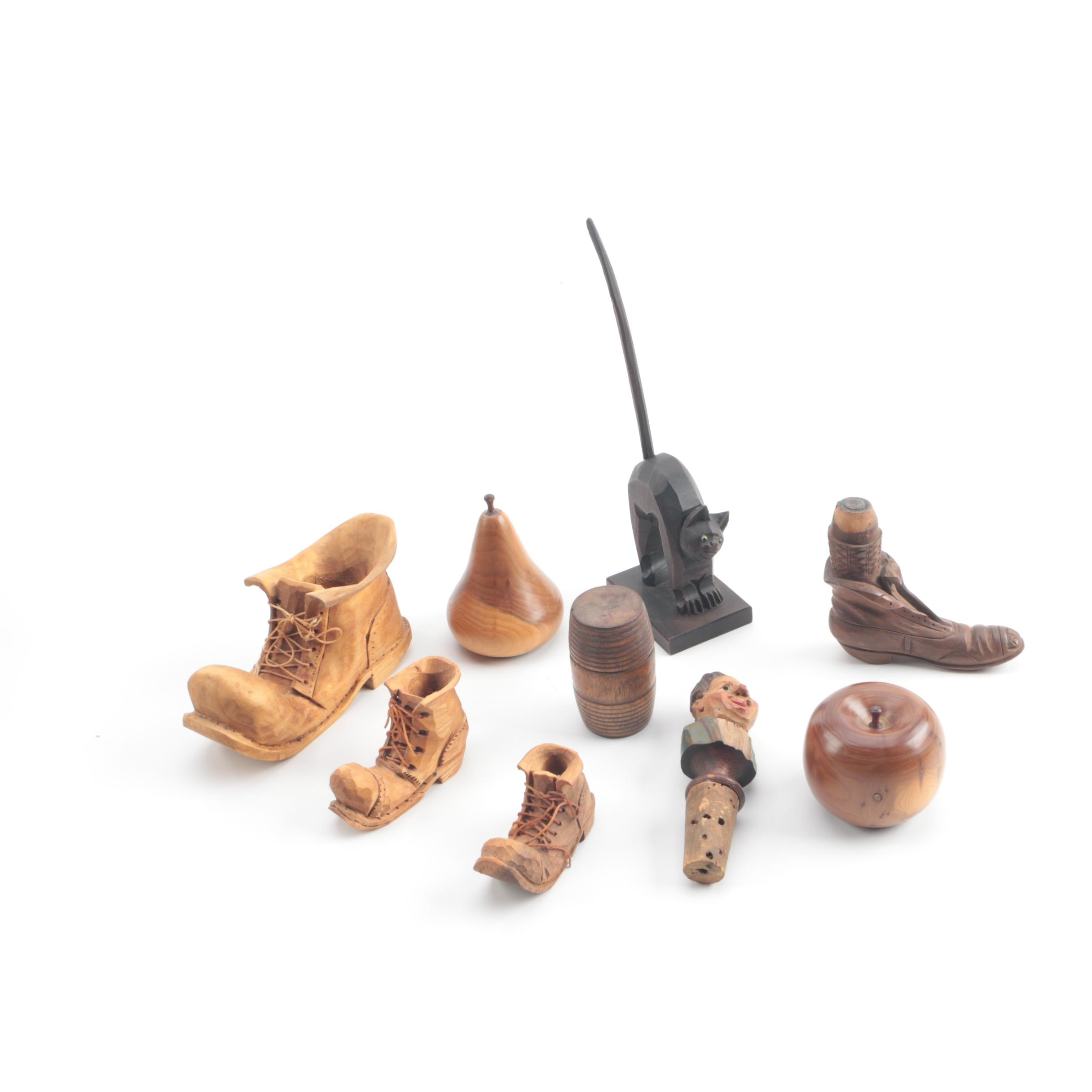 Carved Wood Figurines and Cork Stoppers