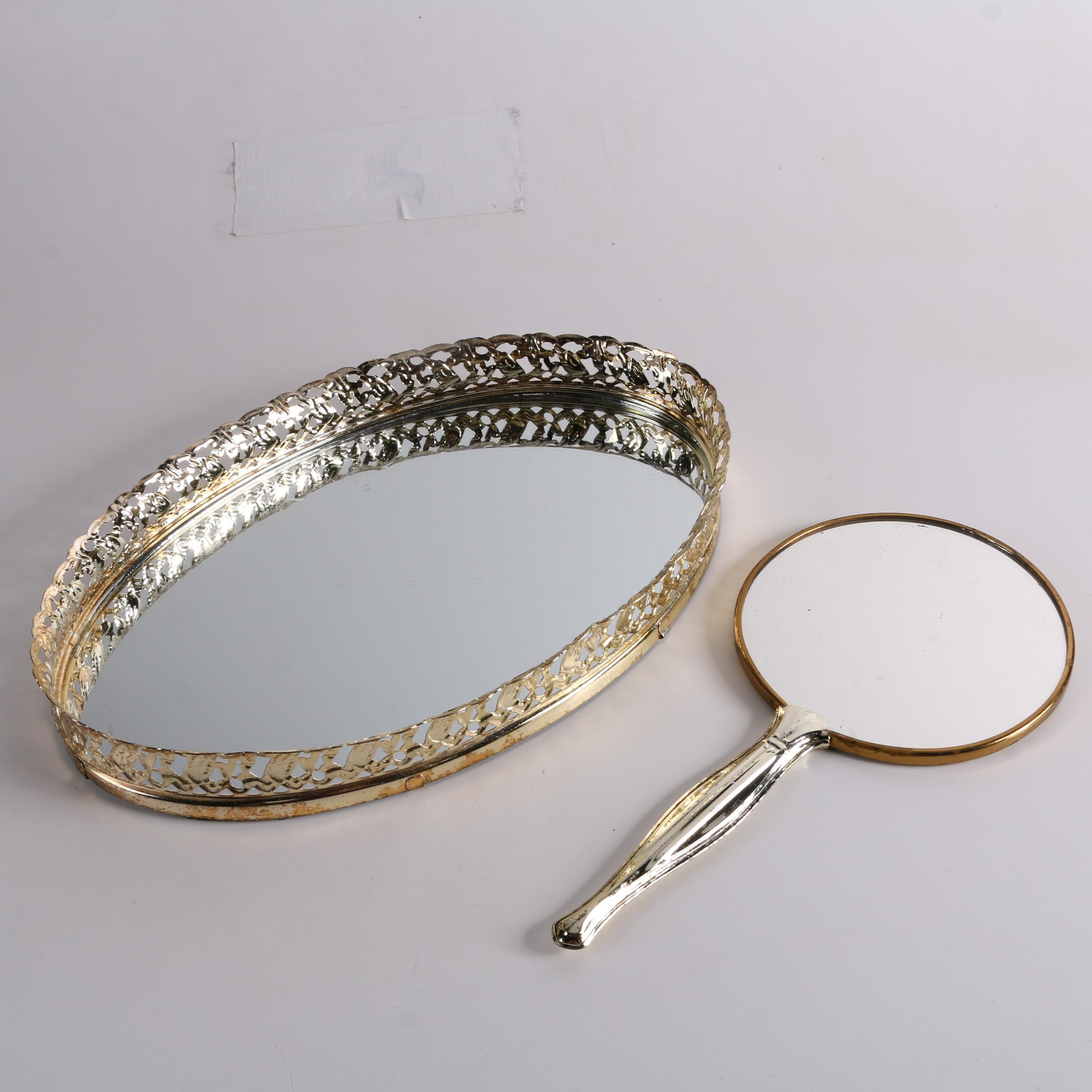 Mirrored Vanity Tray and Hand Mirror