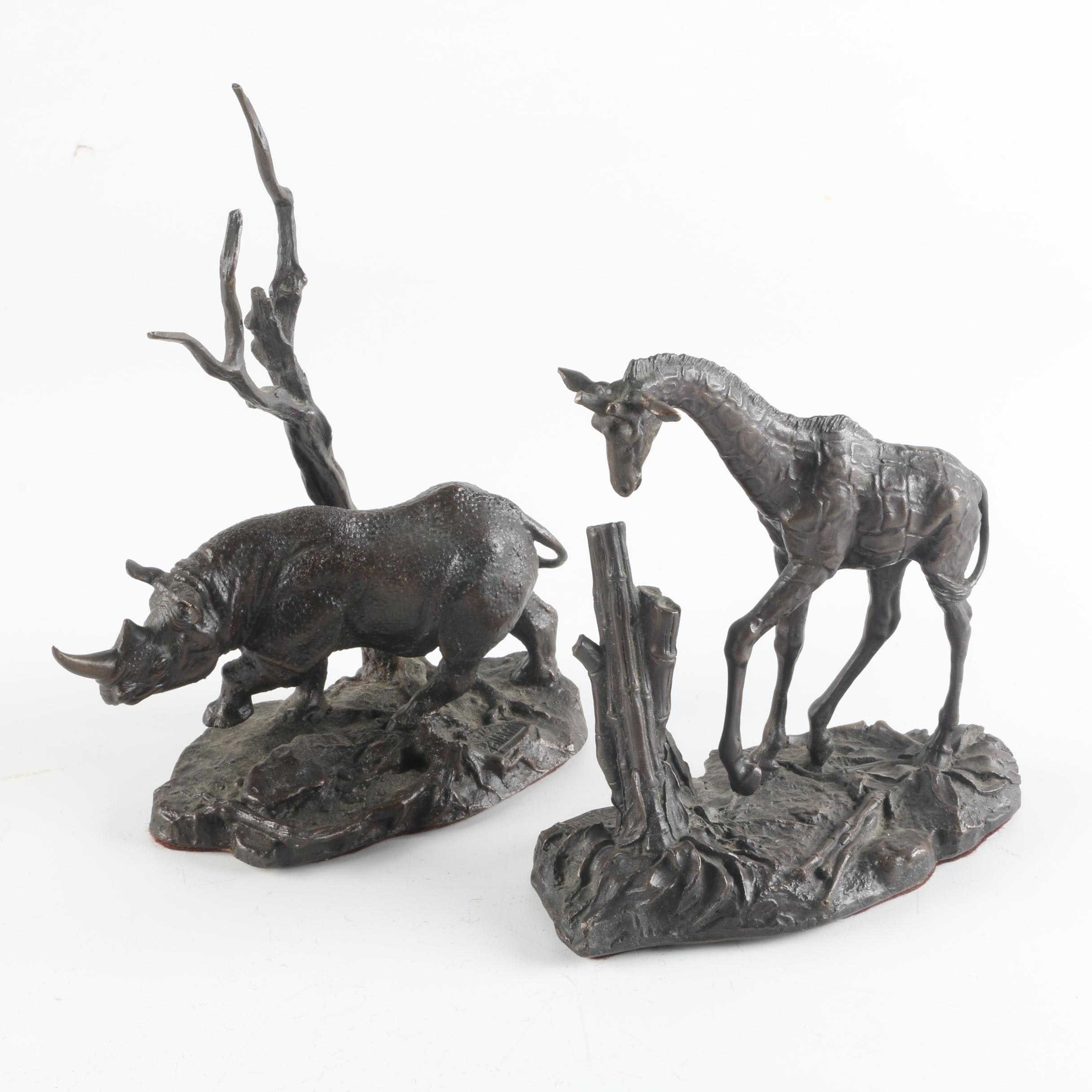 Franklin Mint Bronze Figurines of a Giraffe and Black Rhino