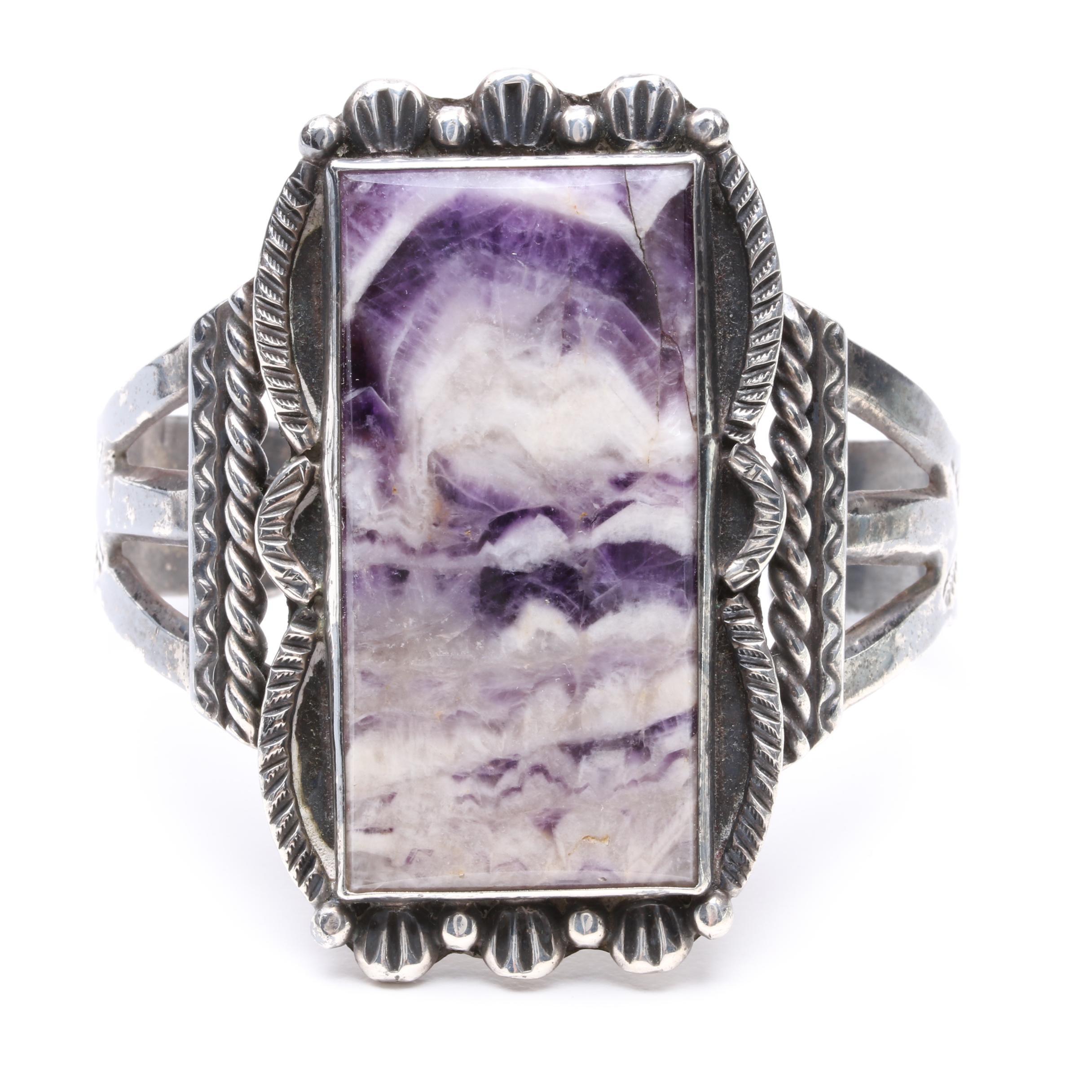 Vintage Handmade Sterling Silver Amethyst Cuff Bracelet