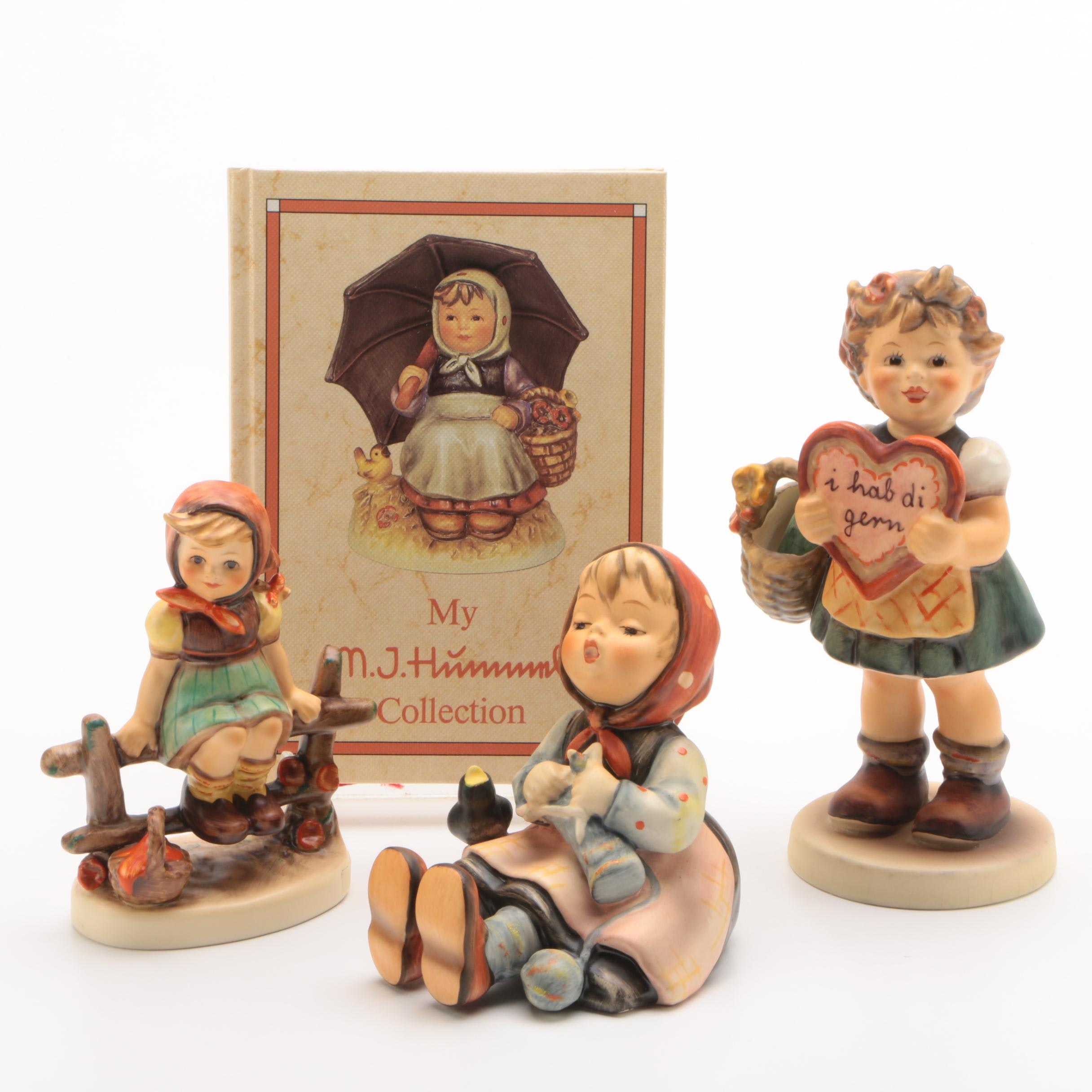 """Hummel Figurines, """"Just Resting"""", """"Happy Pastime"""" and """"Valentine Gift"""" with Book"""