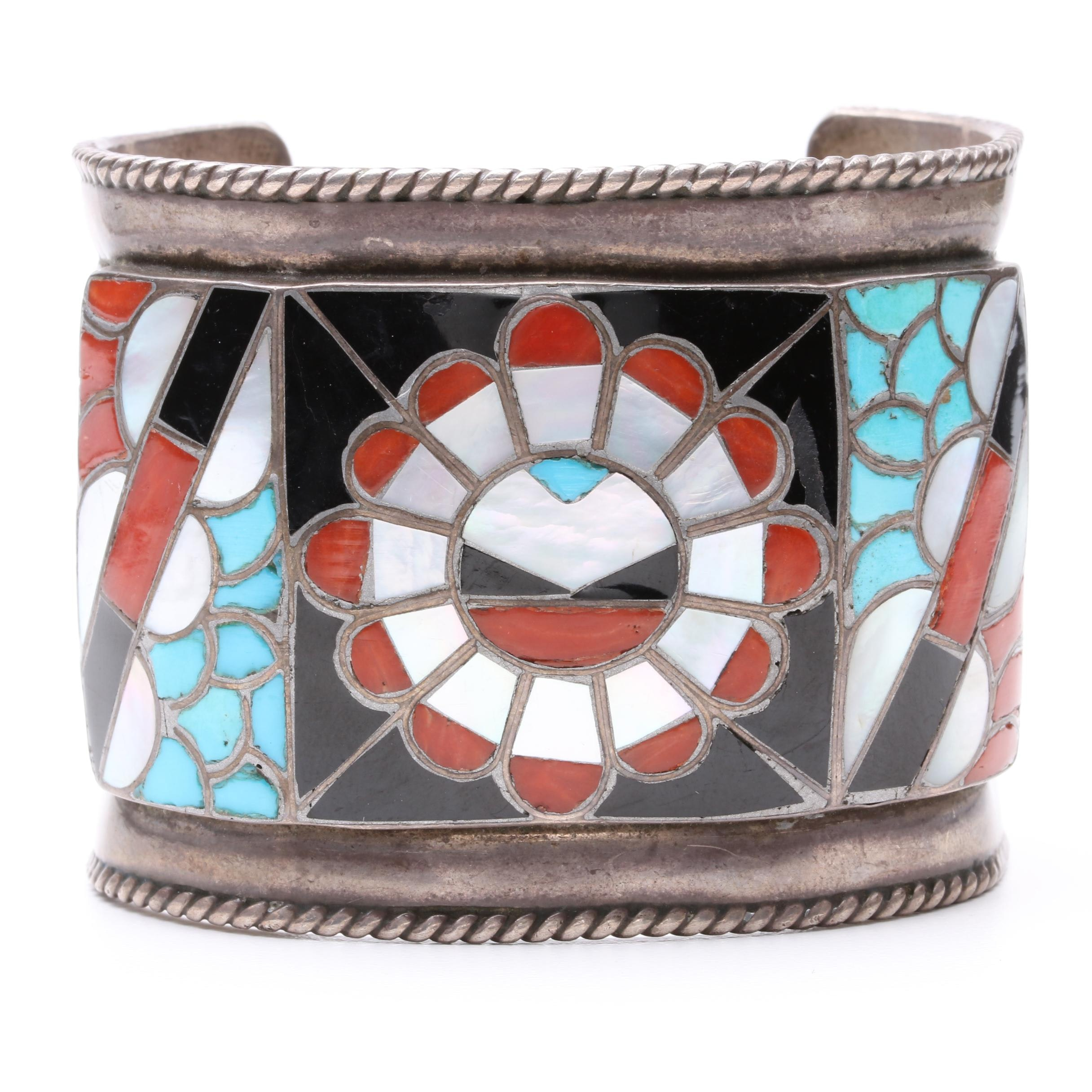 Vintage Southwestern Style Sterling Silver Cuff Bracelet Including Turquoise
