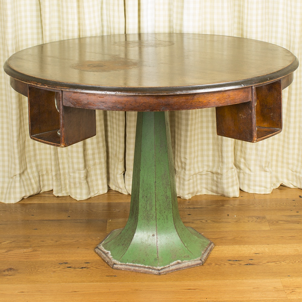 Vintage Tavern or Card Table with Painted Iron Base