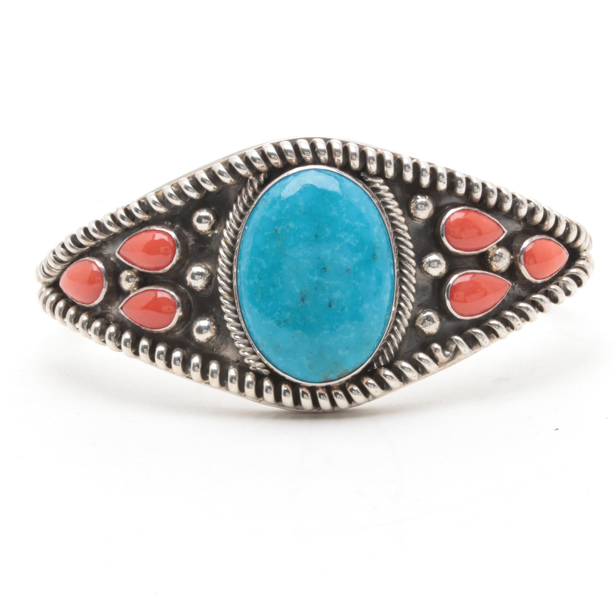 Running Bear Shop Sterling Silver Turquoise and Coral Cuff Bracelet