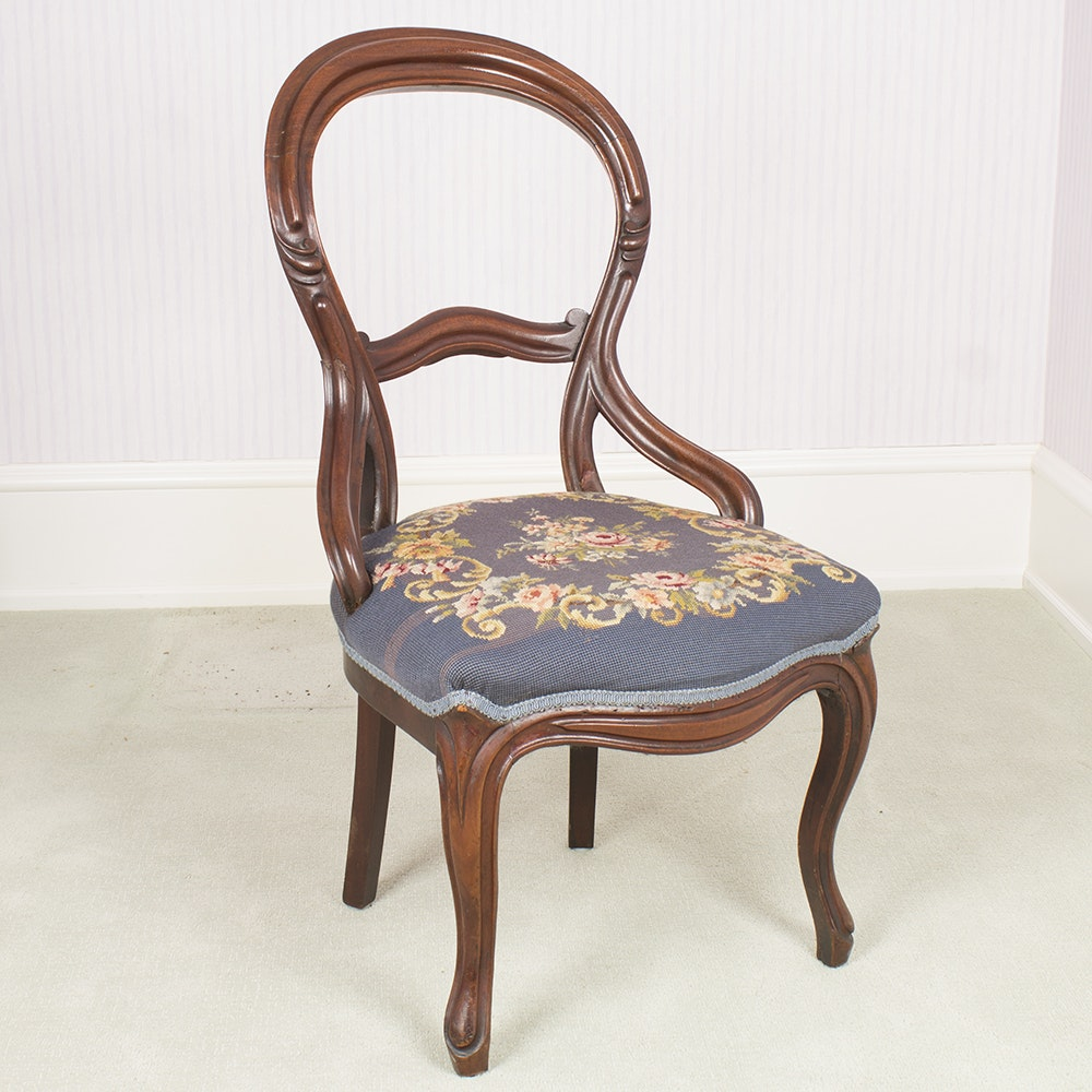 Vintage Victorian Style Needlepoint Side Chair