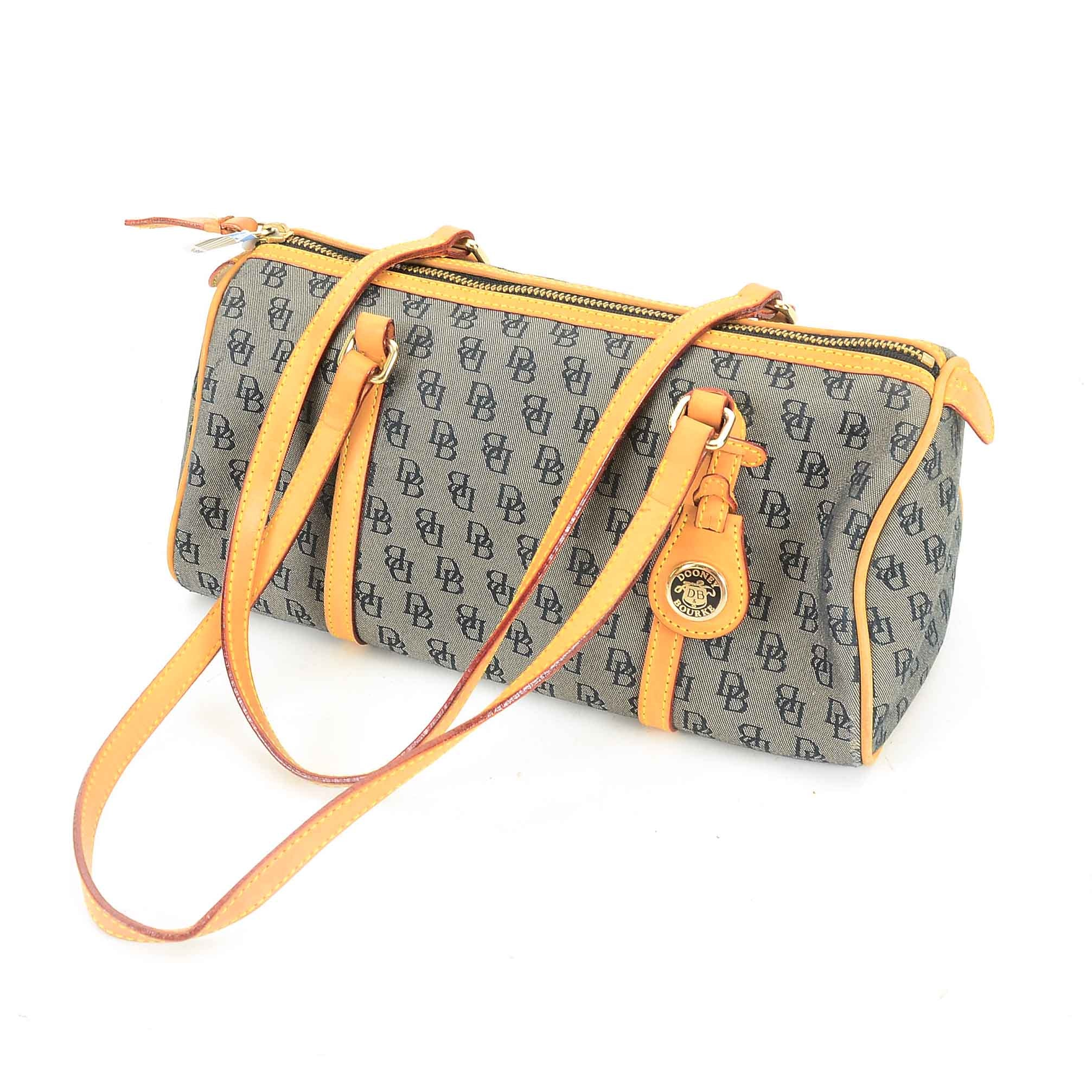 Dooney & Bourke Monogram Canvas and Leather Barrel Bag