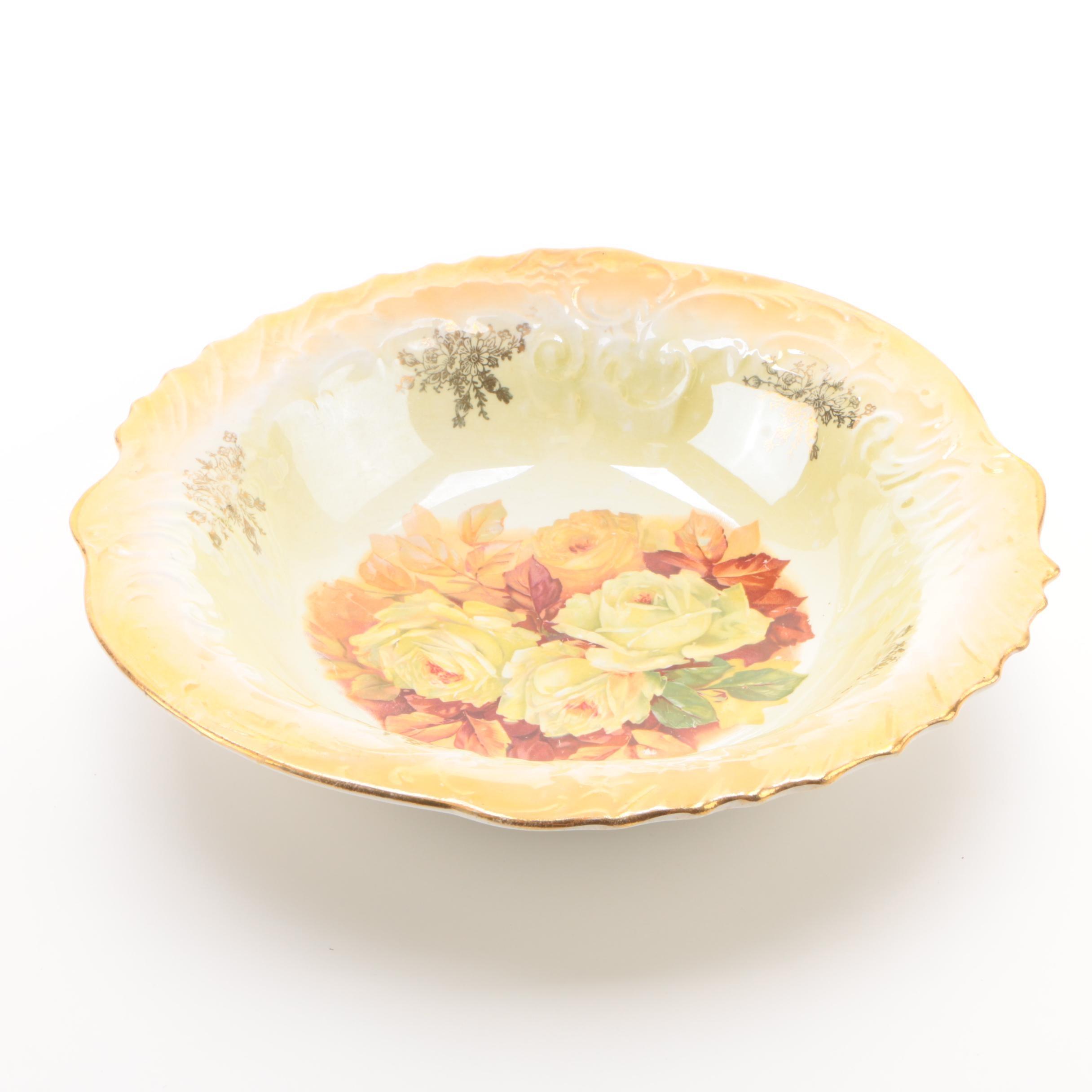 Vintage Yellow and Orange Lusterware Rose Motif Porcelain Bowl