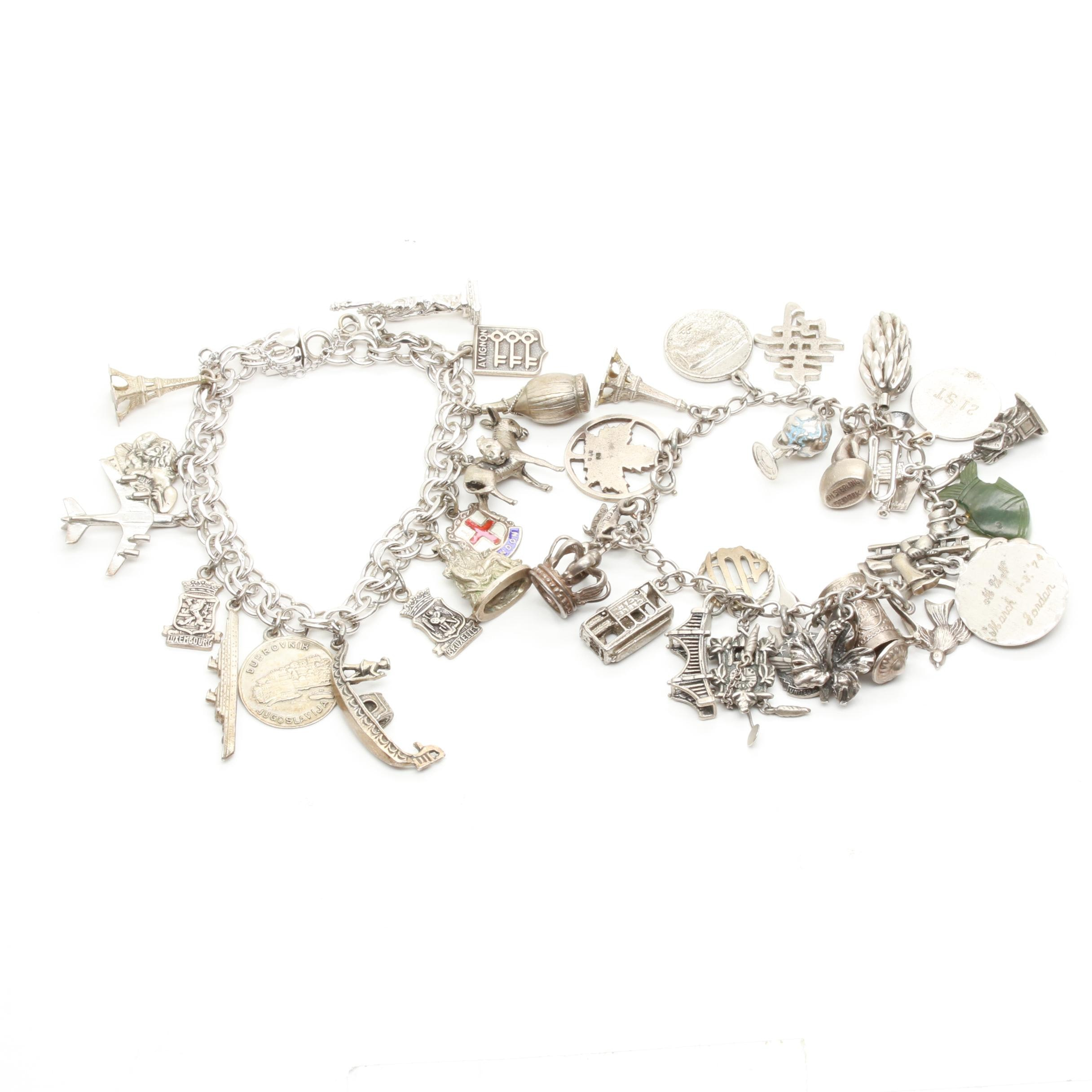 Sterling Silver Charm Bracelet Assortment including Nephrite and Enamel