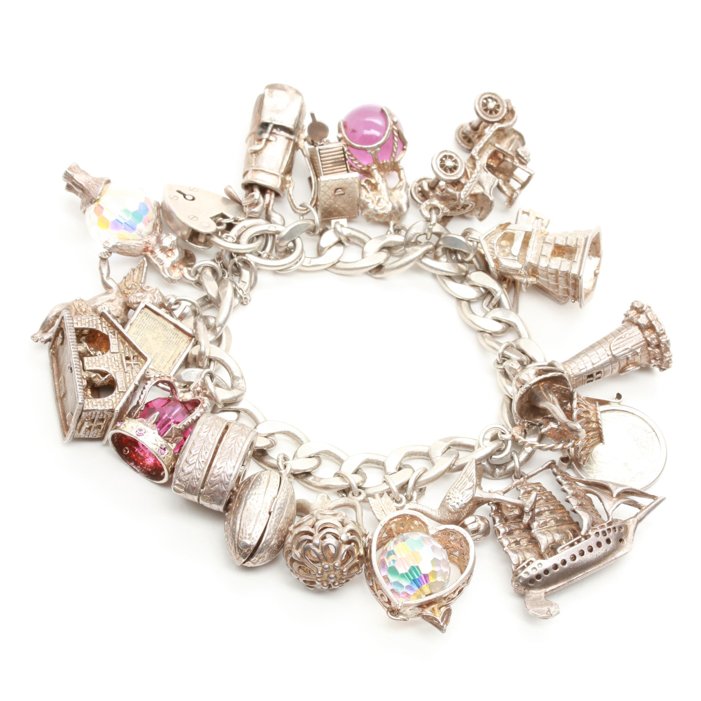 Sterling Silver Charm Bracelet Including Glass