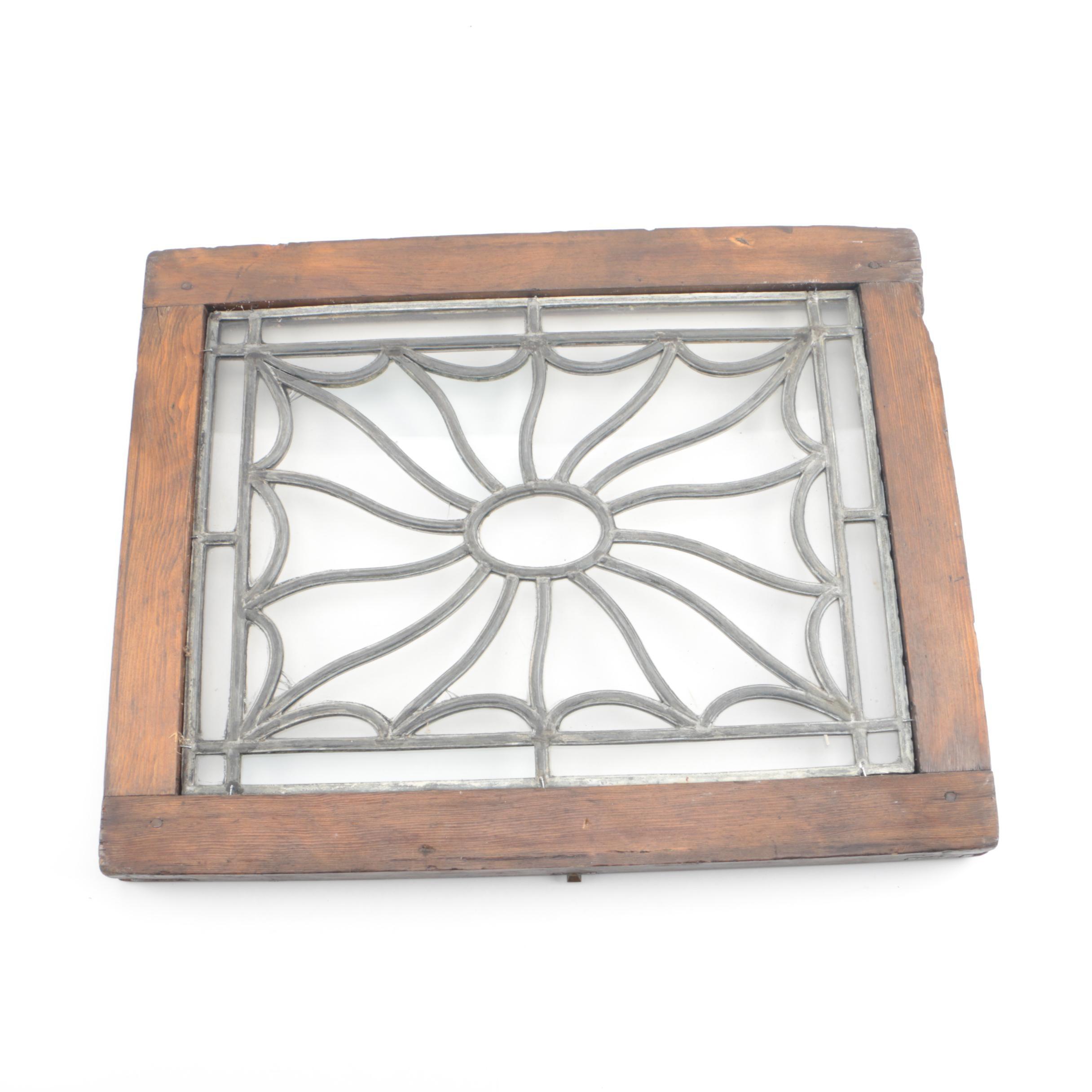 Leaded Glass Window with Wood Frame