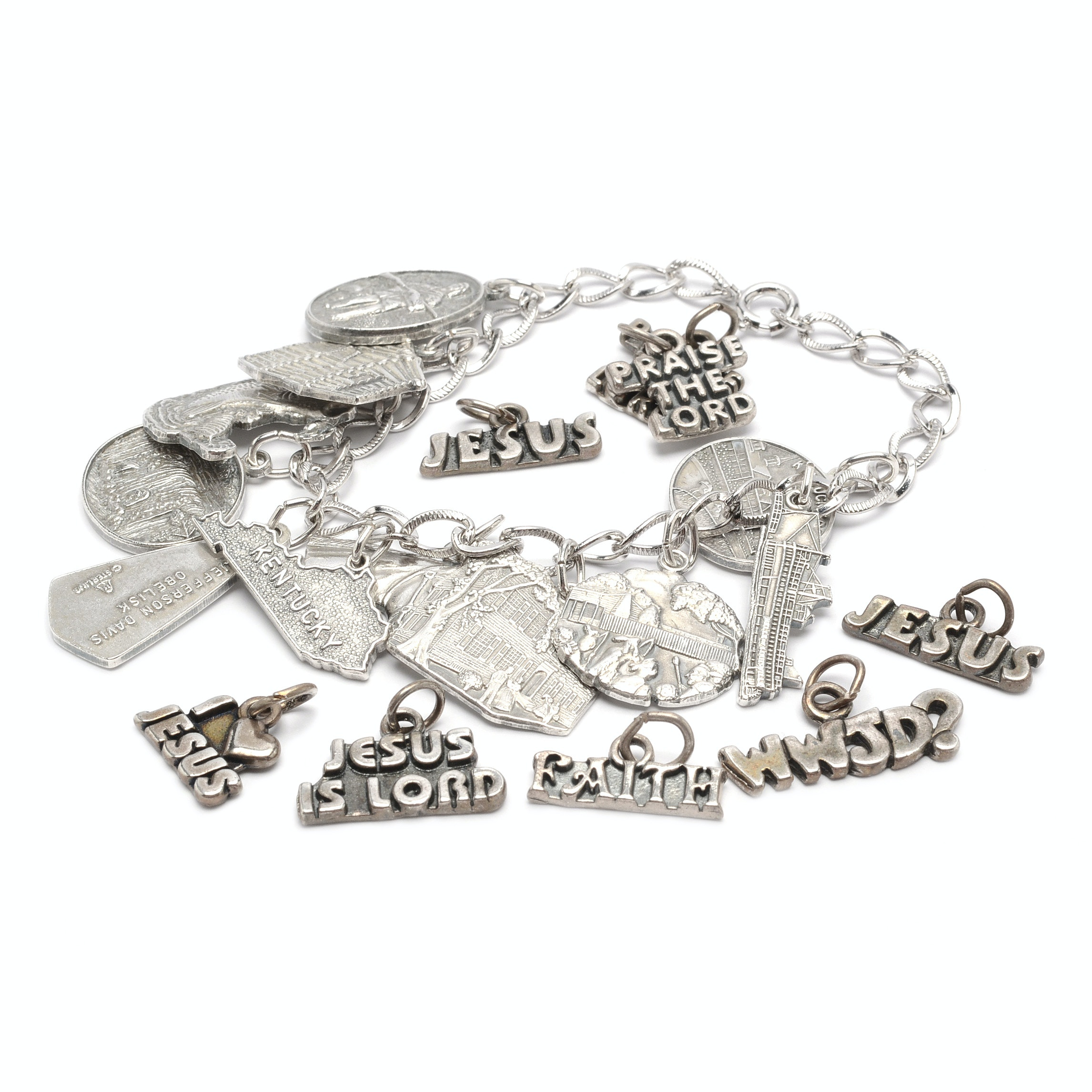 Sterling Silver Charm Bracelet and Assorted Religious Charms