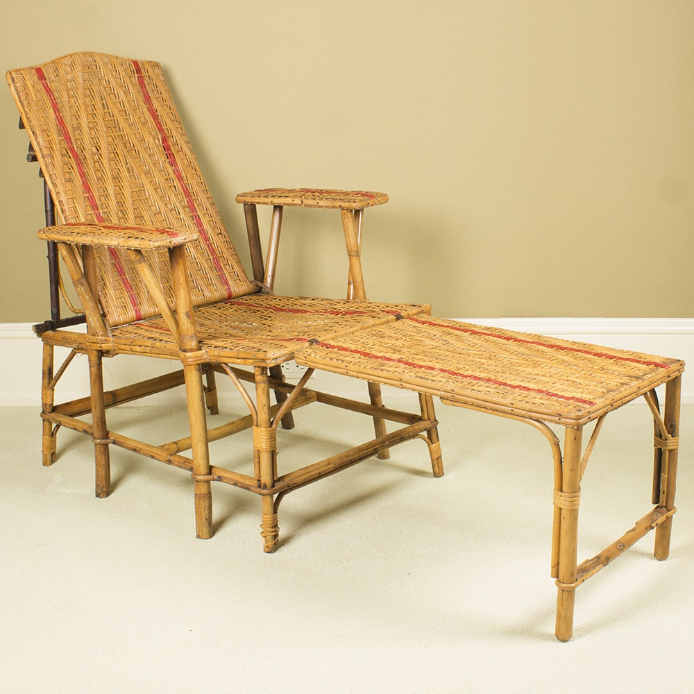 Vintage French Rattan Chaise Lounge