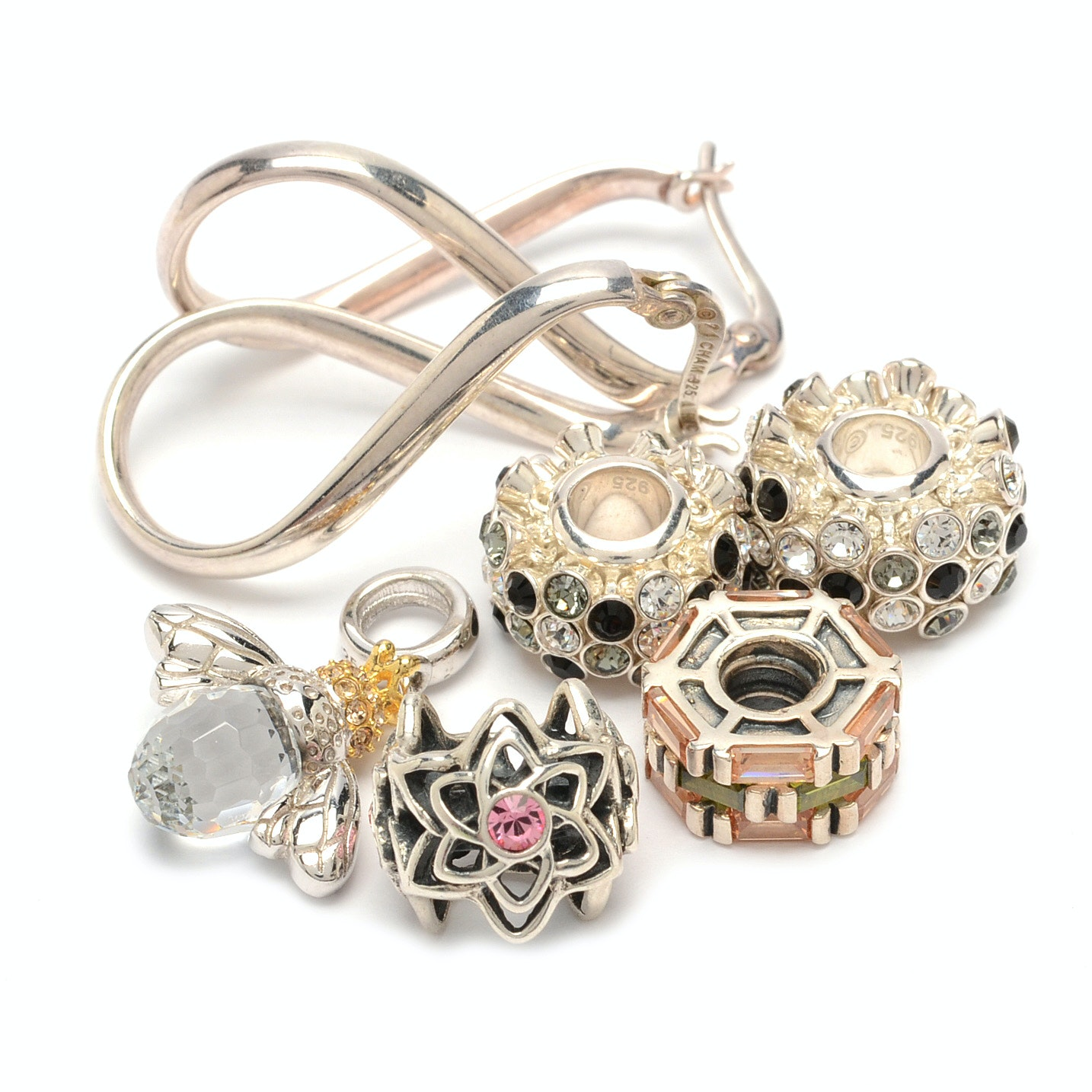 Sterling Silver Earrings and Five Chamilia Charms
