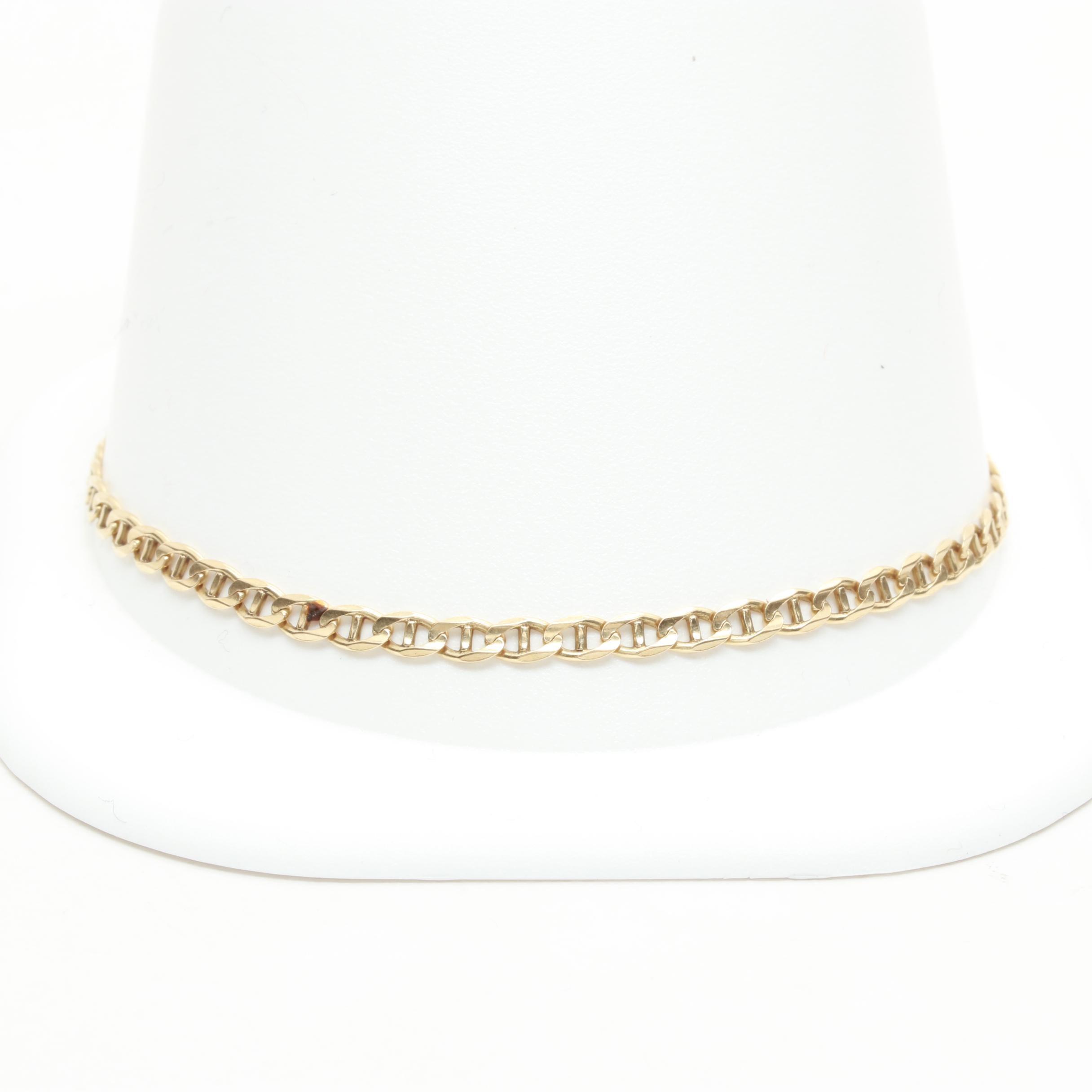 14K Yellow Gold Mariner Link Chain Bracelet