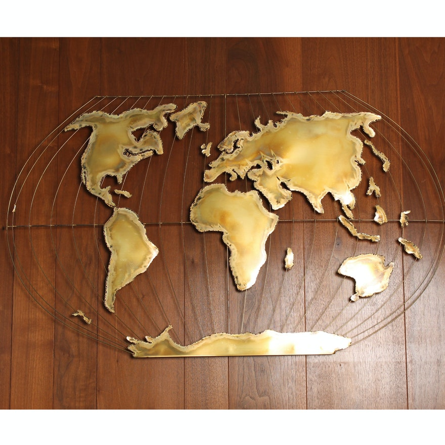Brass Globe Wall Art : EBTH