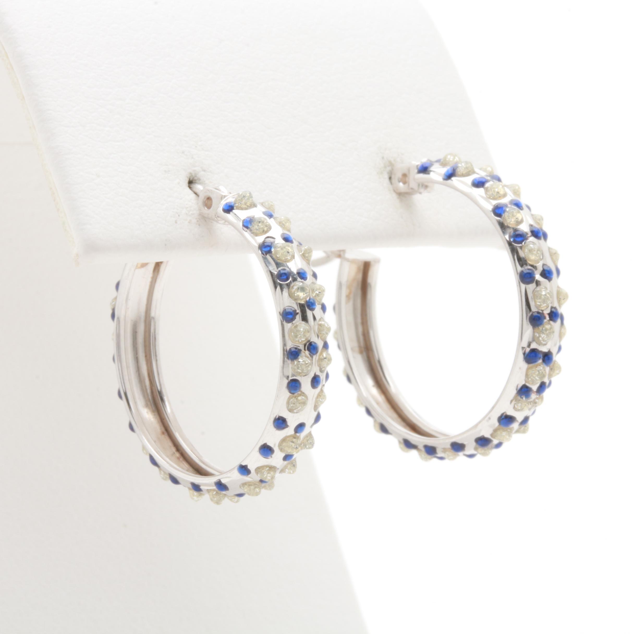 10K White Gold Resin Hoop Earrings